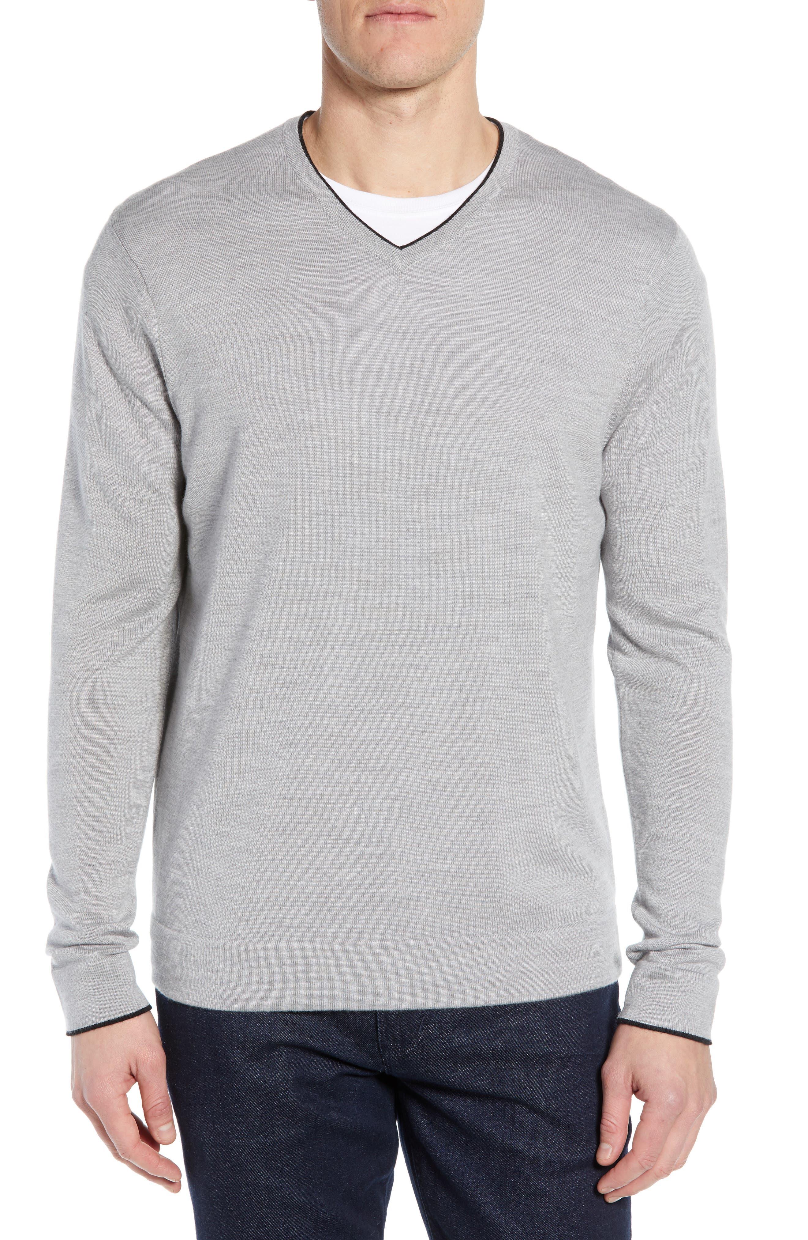 Nordstrom Signature Merino Wool Blend V-Neck Sweater, Grey