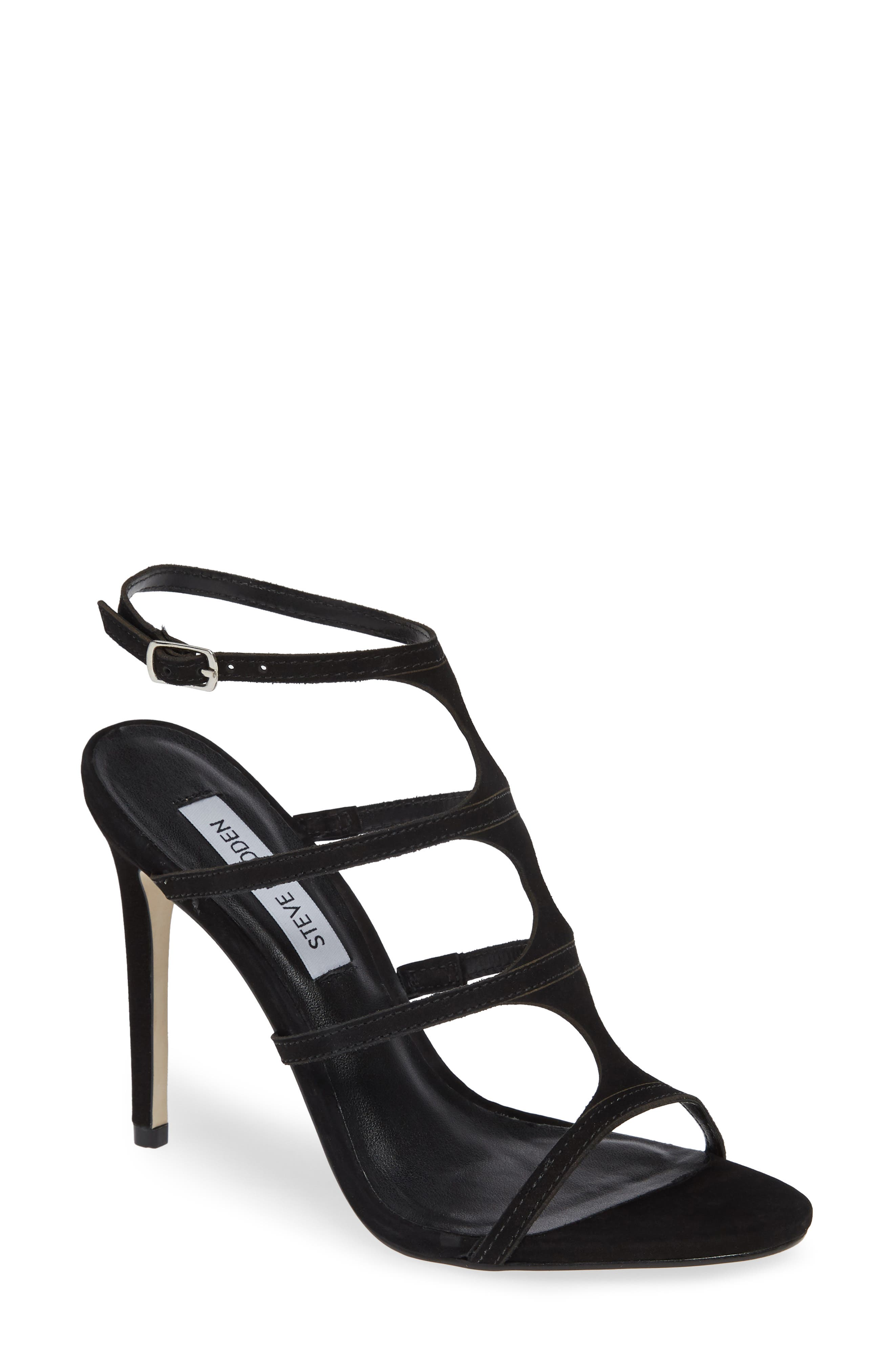 Sprung Sandal,                         Main,                         color, BLACK NUBUCK