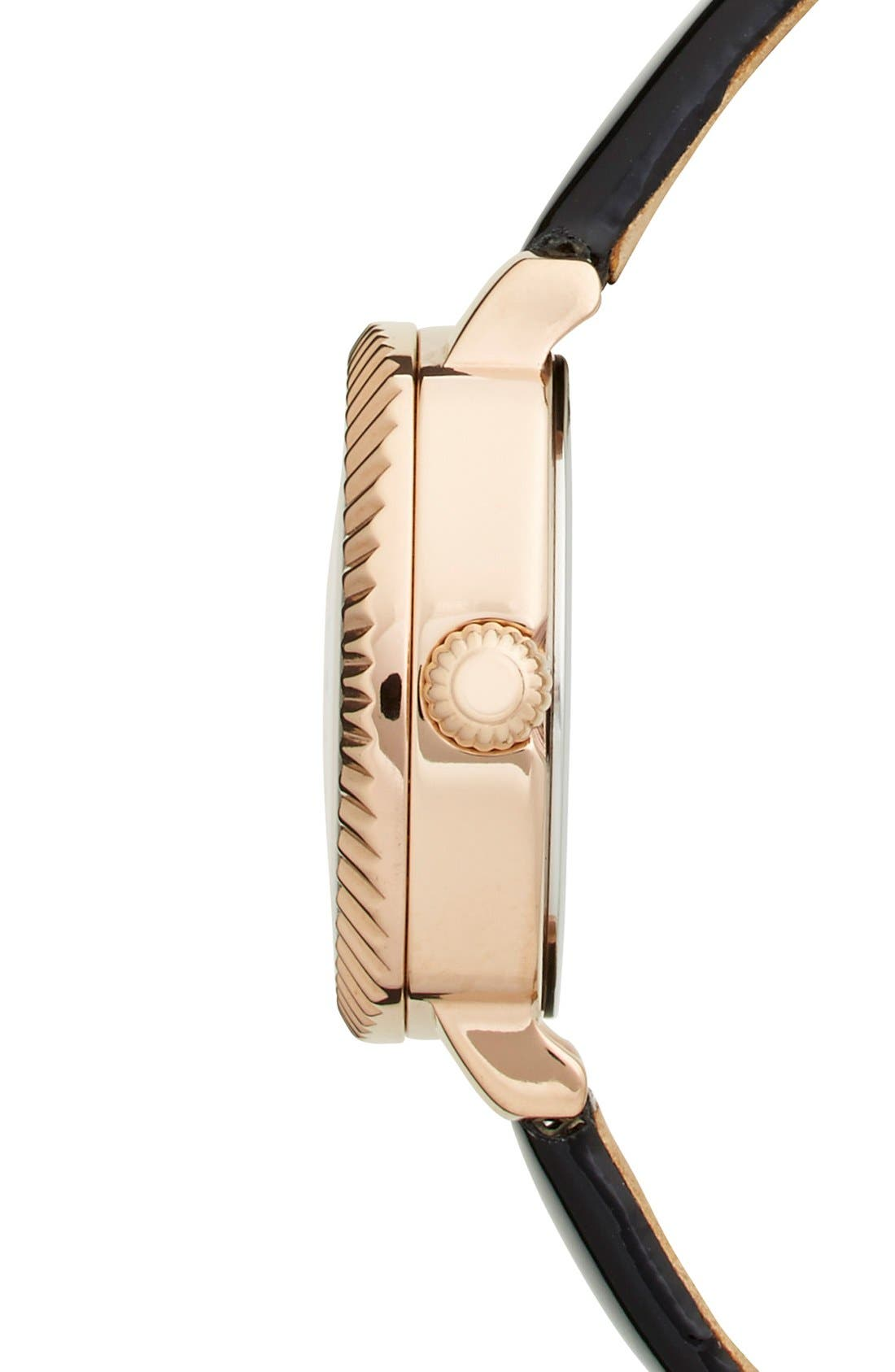 'Mini Jewels' Crystal Index Patent Leather Strap Watch, 26mm,                             Alternate thumbnail 2, color,                             001
