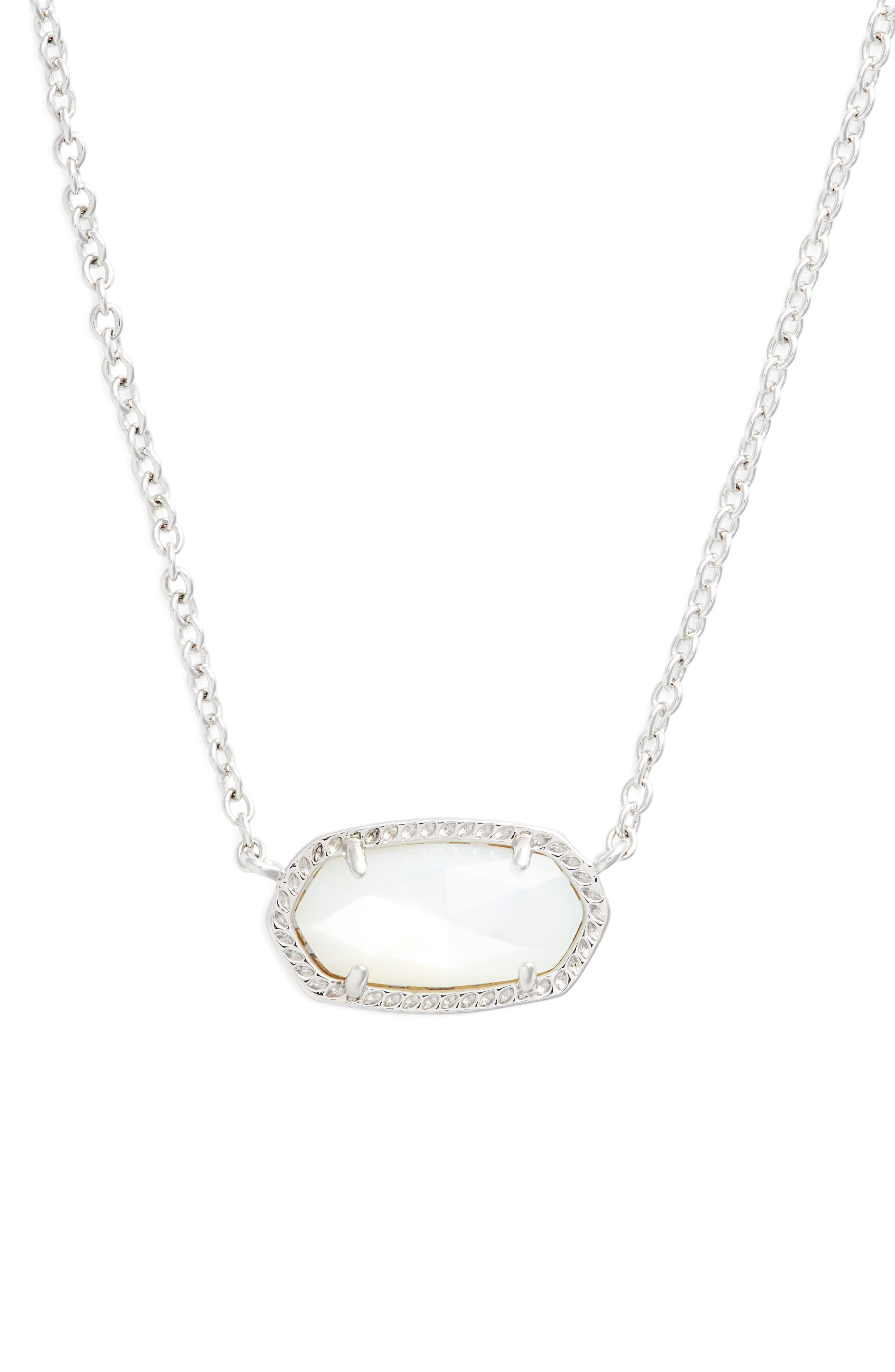 Elisa Birthstone Pendant Necklace, Main, color, JUNE/IVORY MOP/SILVER