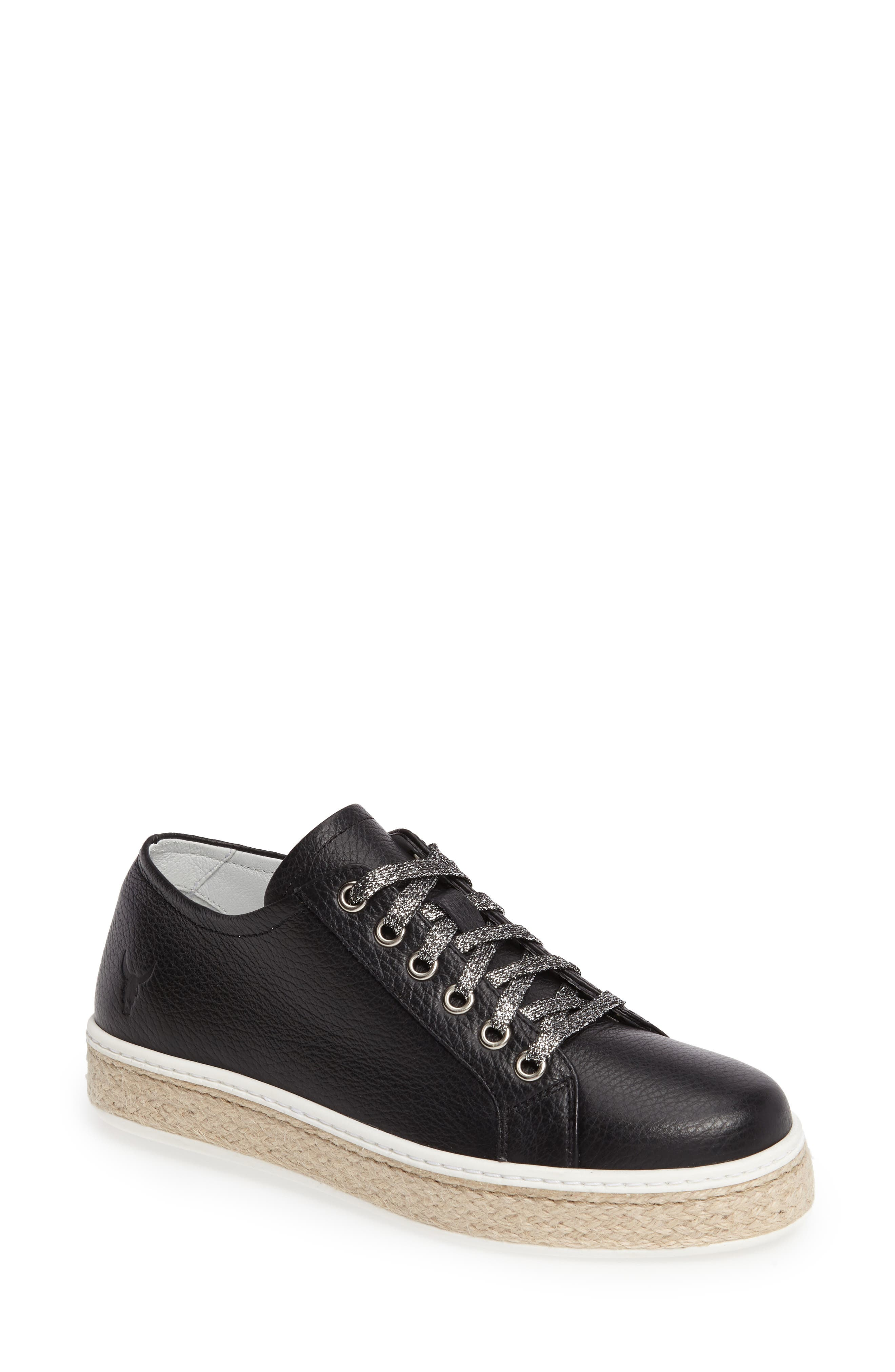 Bevany Sneaker,                         Main,                         color, BLACK LEATHER