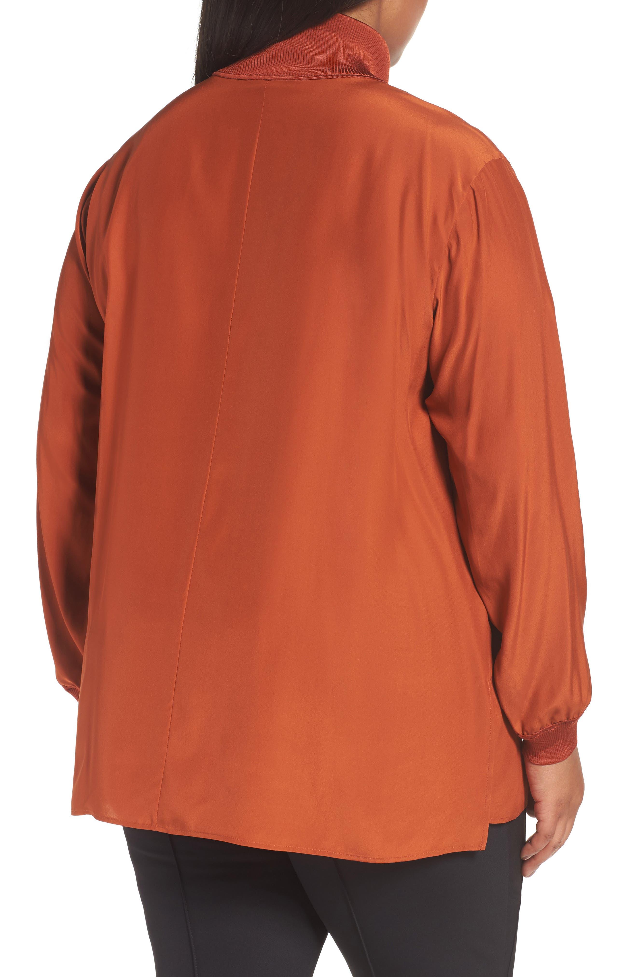 Lafayette Daryn V-Neck Zip Silk Blouse,                             Alternate thumbnail 2, color,                             096