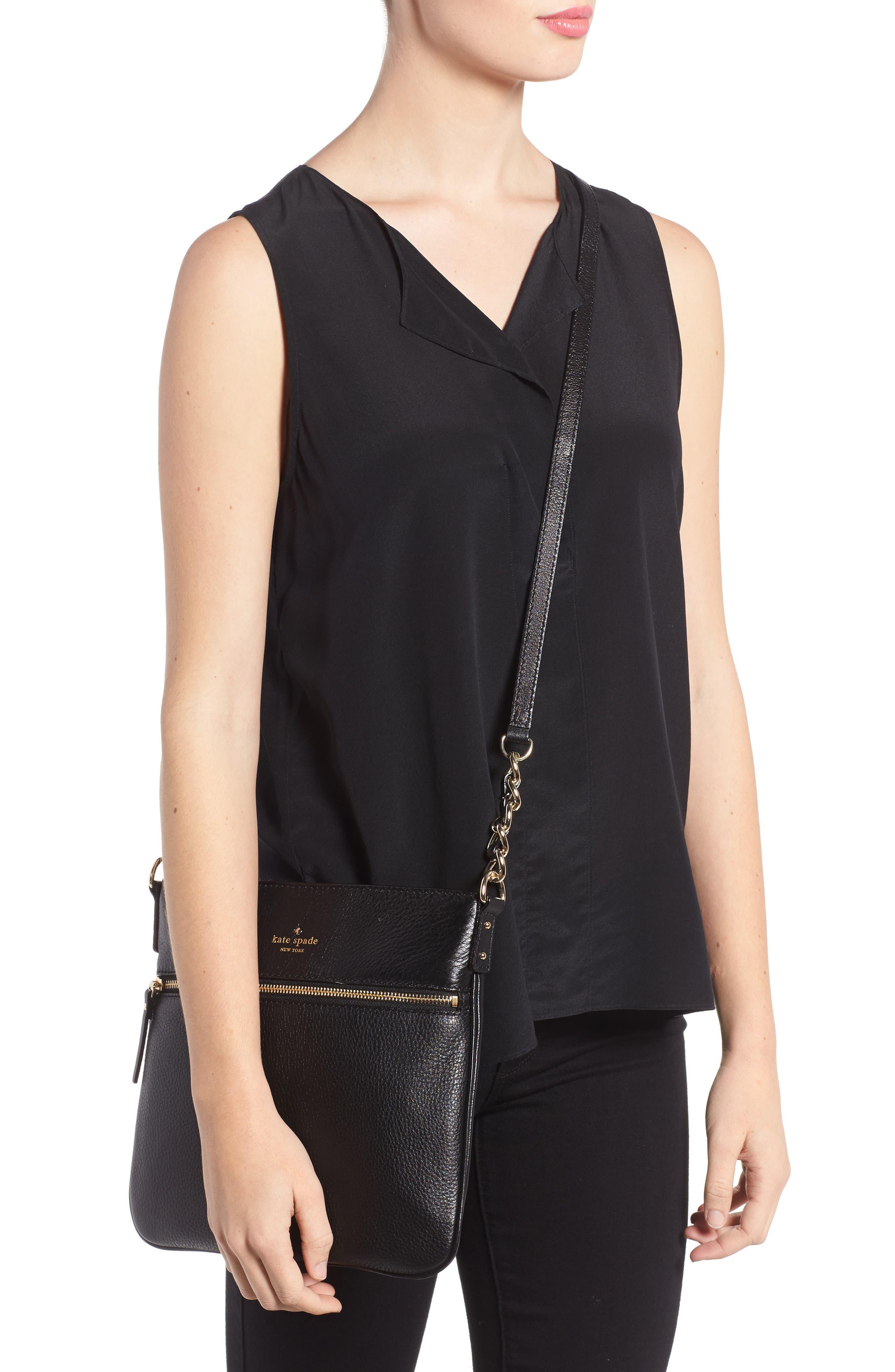 'cobble hill - ellen' leather crossbody bag,                             Alternate thumbnail 3, color,                             001