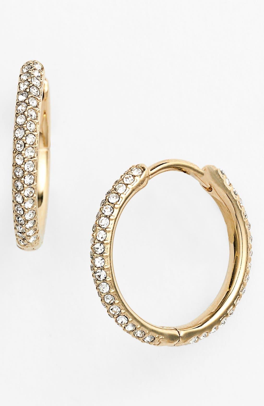 Small Pavé Hoop Earrings,                             Main thumbnail 1, color,                             GOLD/ CLEAR