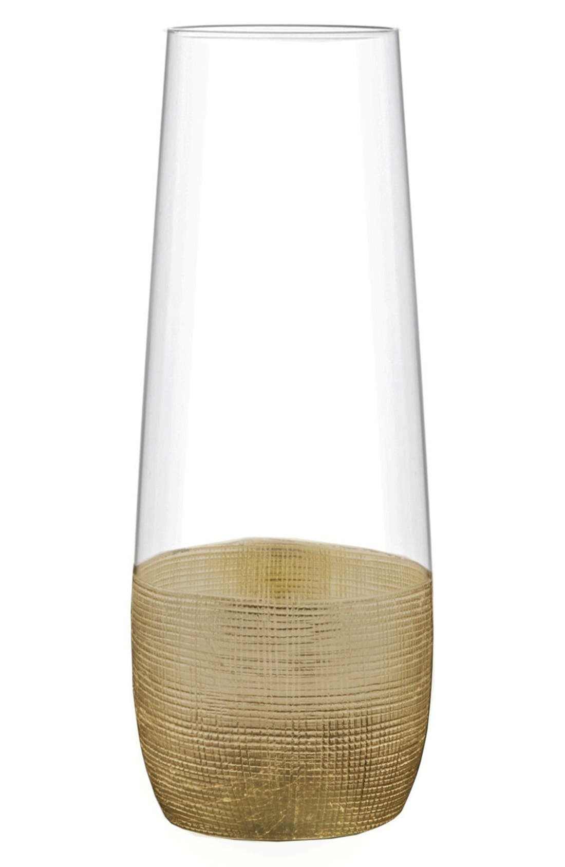 Linen Set of 4 Stemless Champagne Flutes,                             Main thumbnail 1, color,                             GOLD