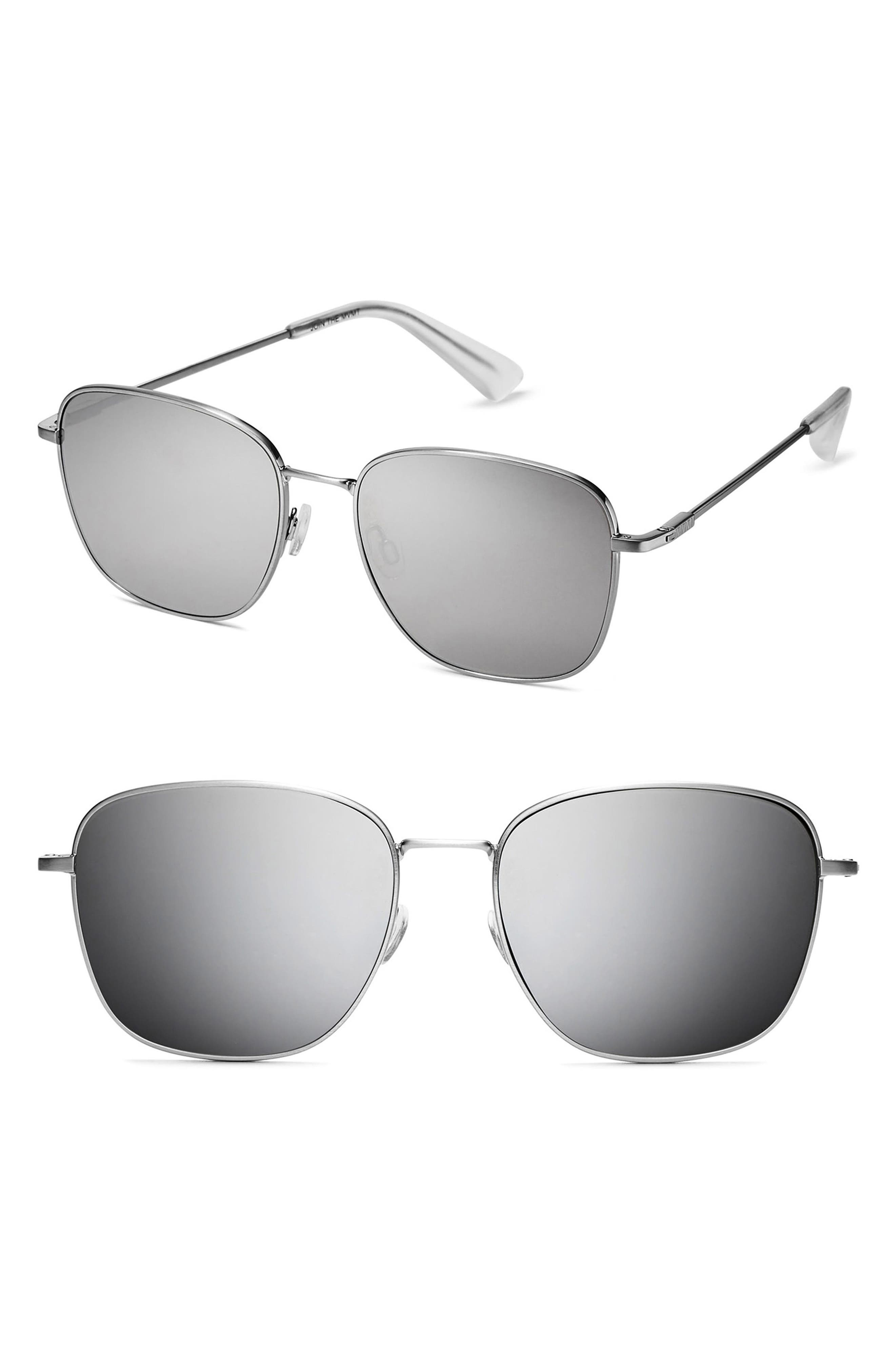Outlaw 55mm Polarized Sunglasses,                             Main thumbnail 1, color,                             SILVER MIRROR
