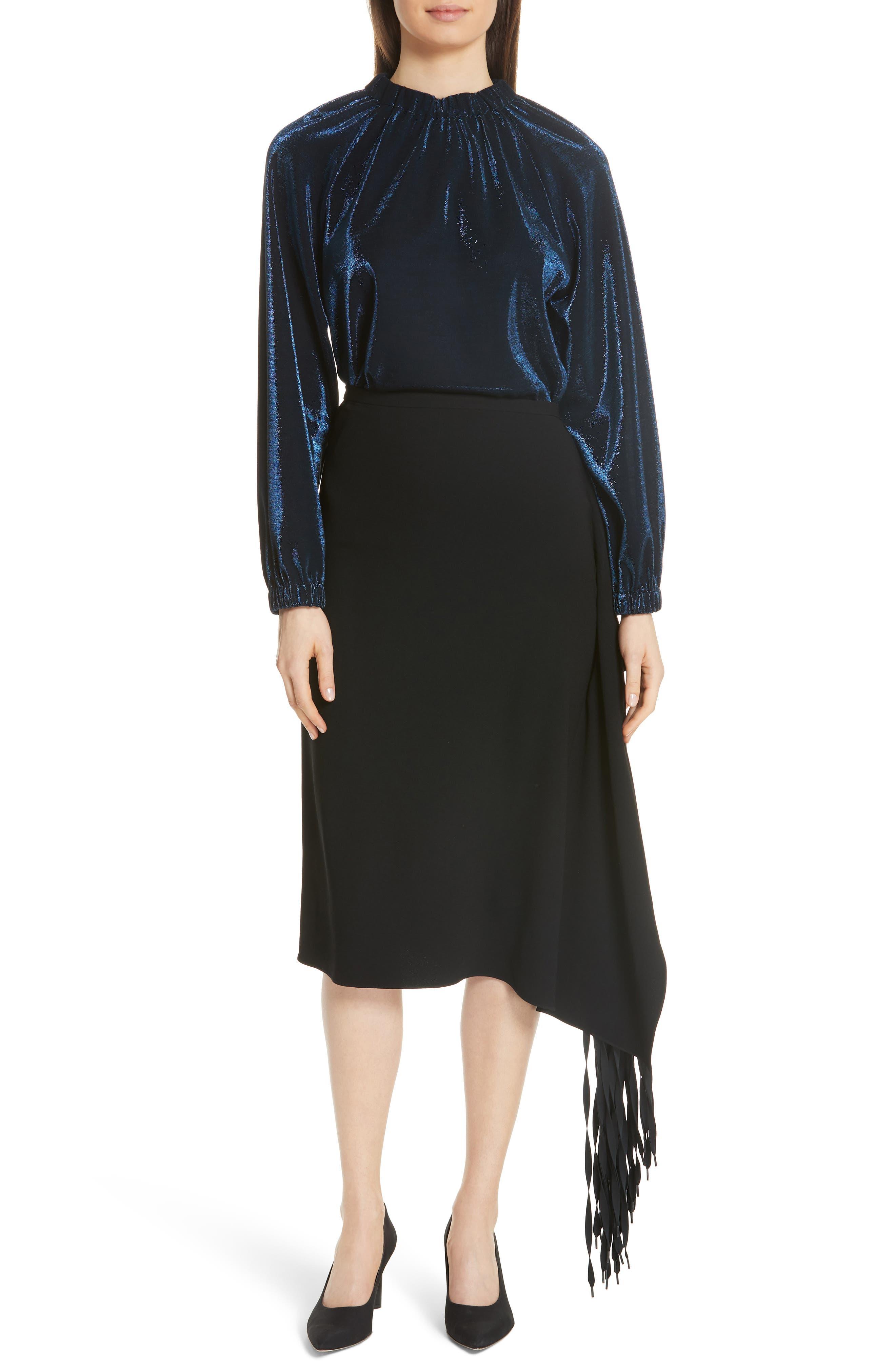 TIBI,                             Shoelace Fringe Skirt,                             Alternate thumbnail 7, color,                             BLACK