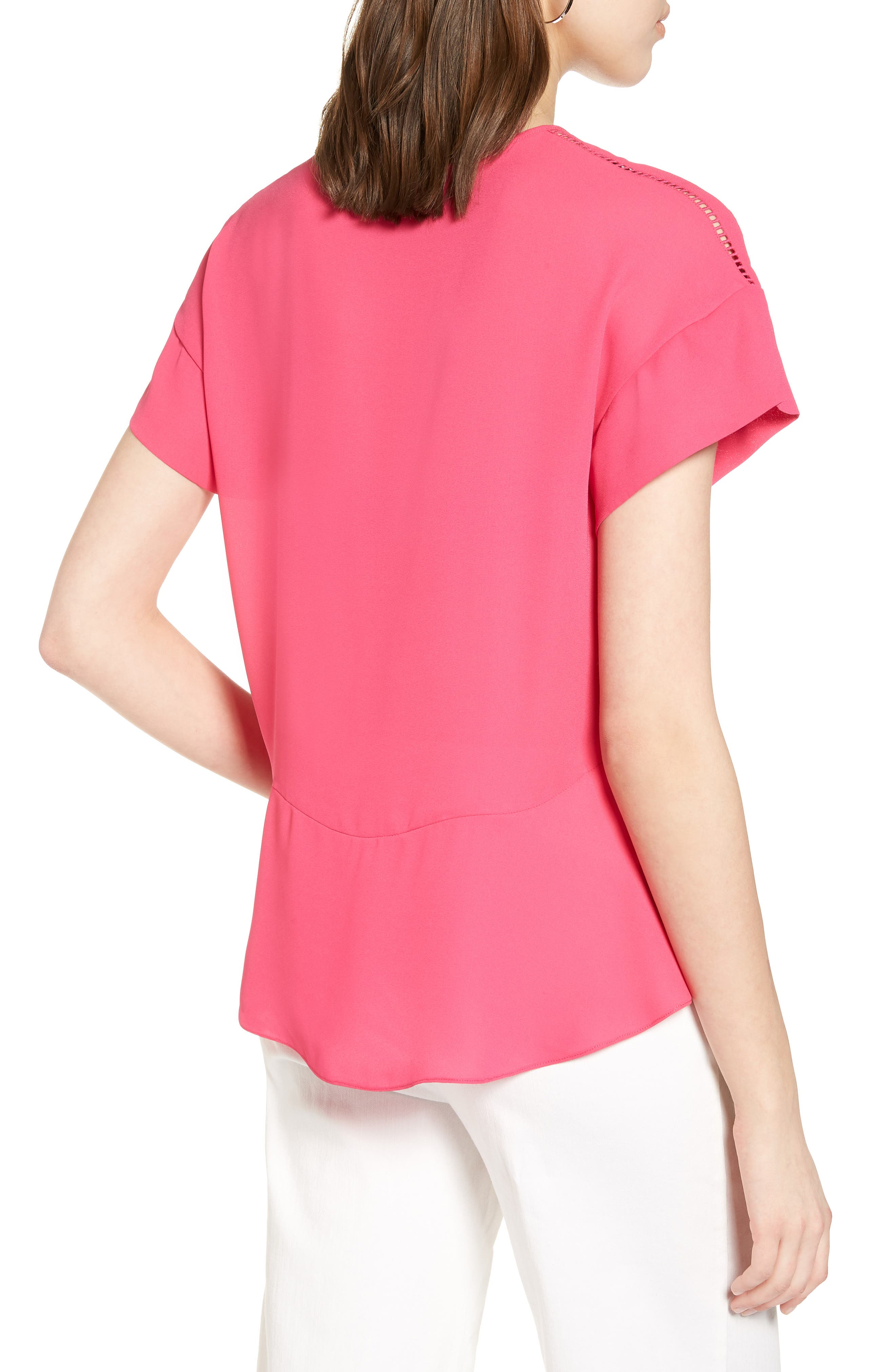 Ruffle Sleeve Peplum Stretch Cotton Blend Top,                             Alternate thumbnail 9, color,