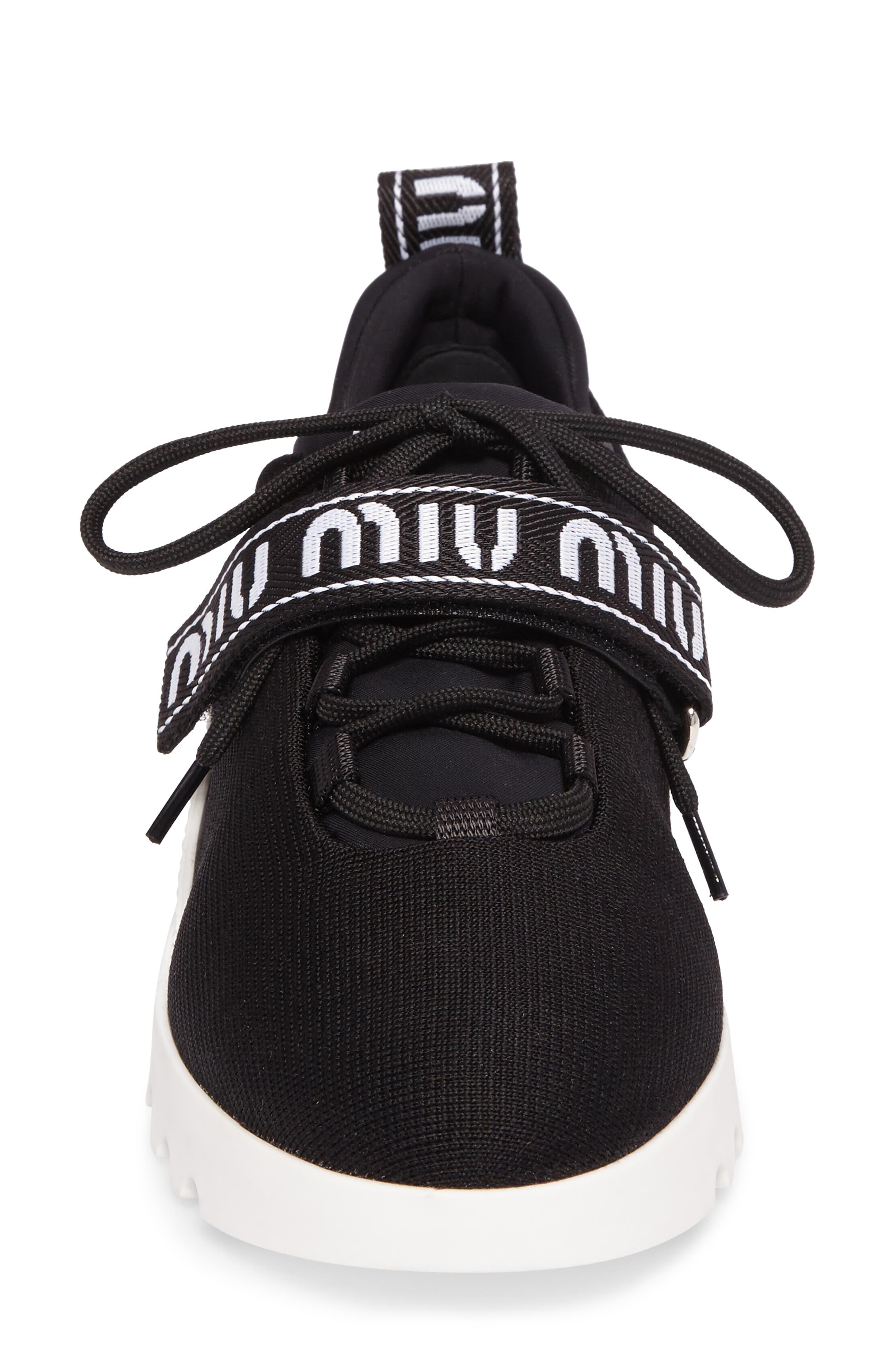 Logo Strap Platform Sneaker,                             Alternate thumbnail 4, color,                             BLACK