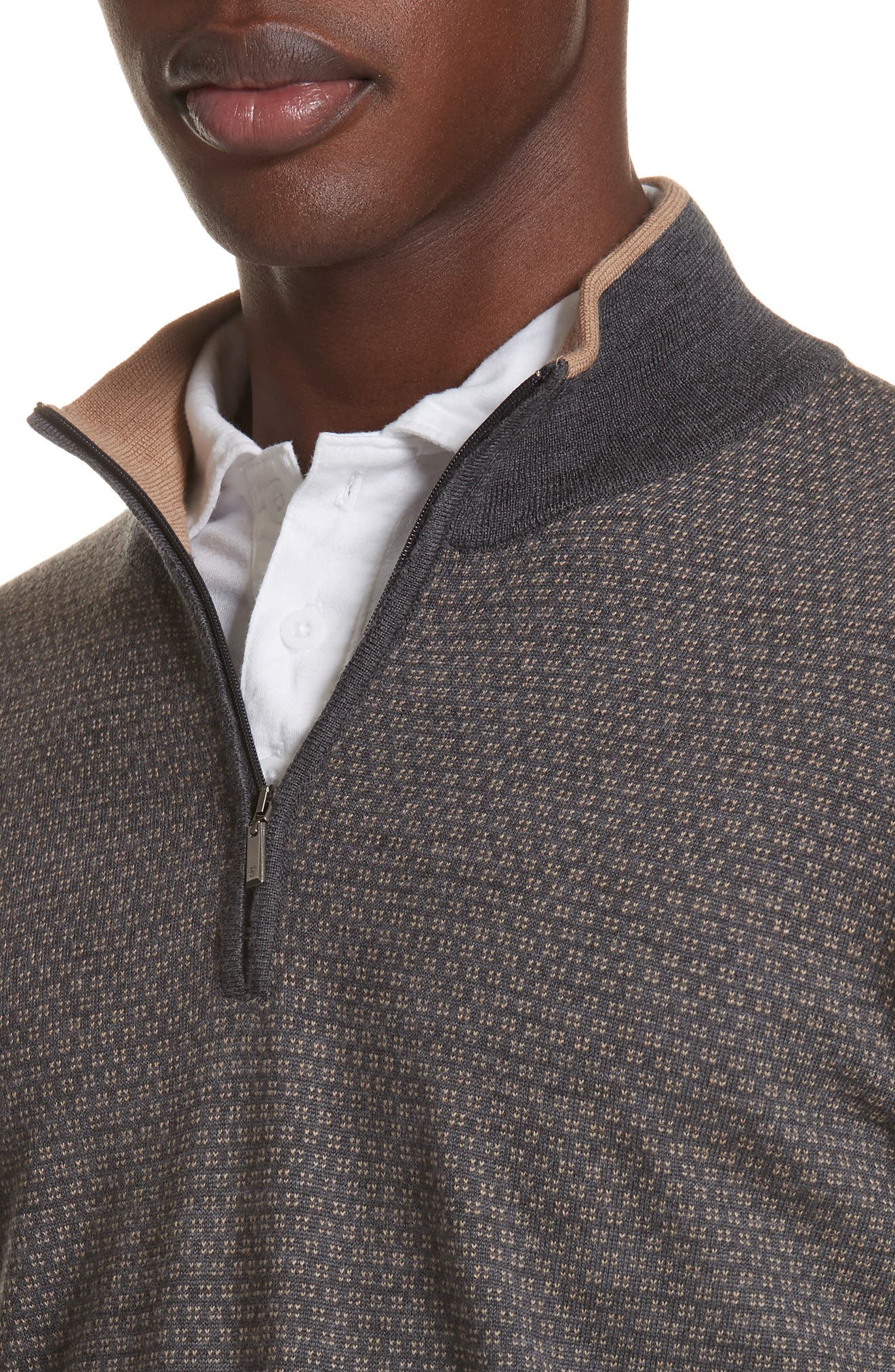 Quarter Zip Wool Sweater,                             Alternate thumbnail 4, color,                             020