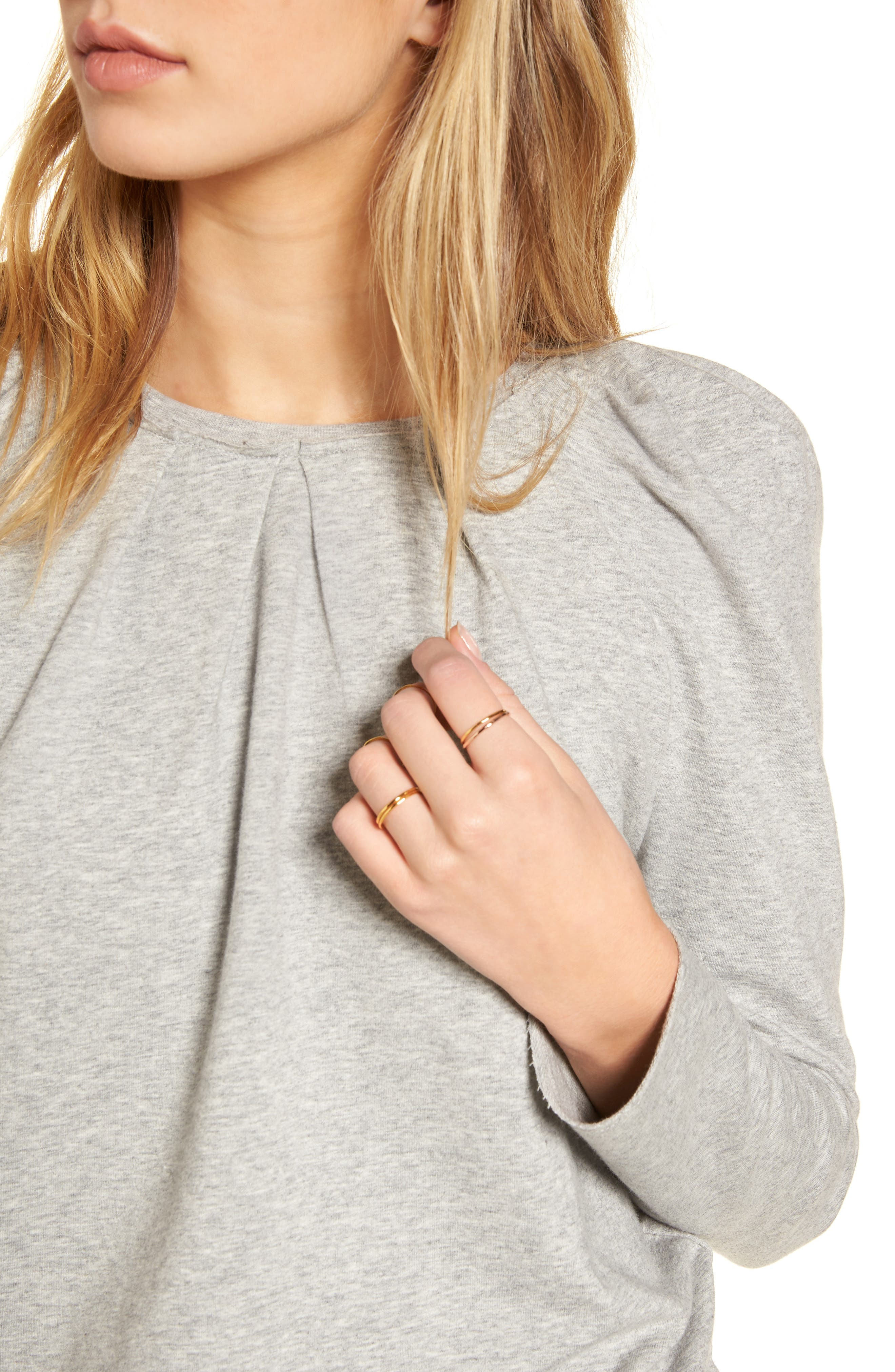 Pleated Knit Top,                             Alternate thumbnail 4, color,                             020