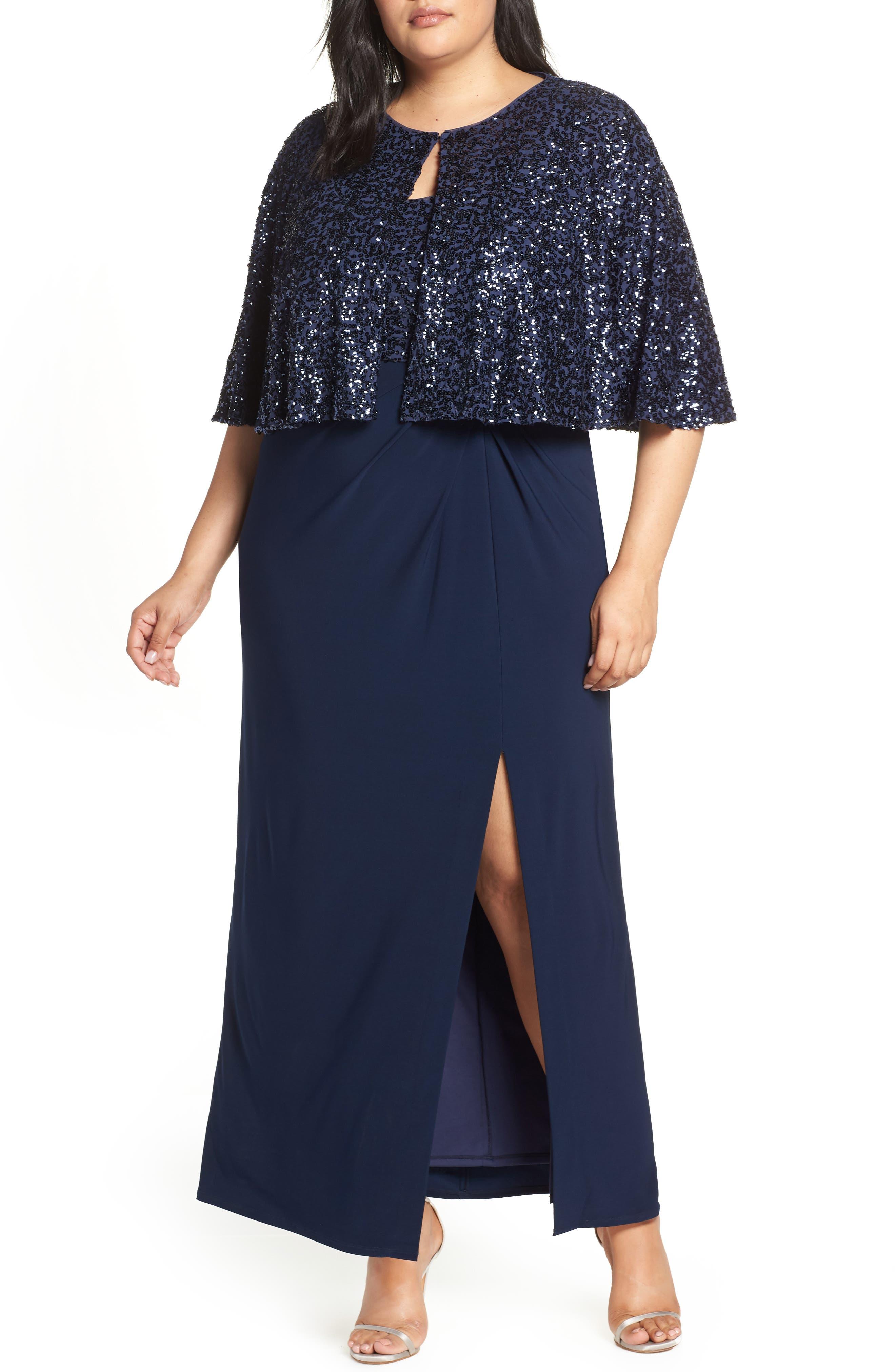 Plus Size Alex Evenings Sequin Gown & Capelet, Blue