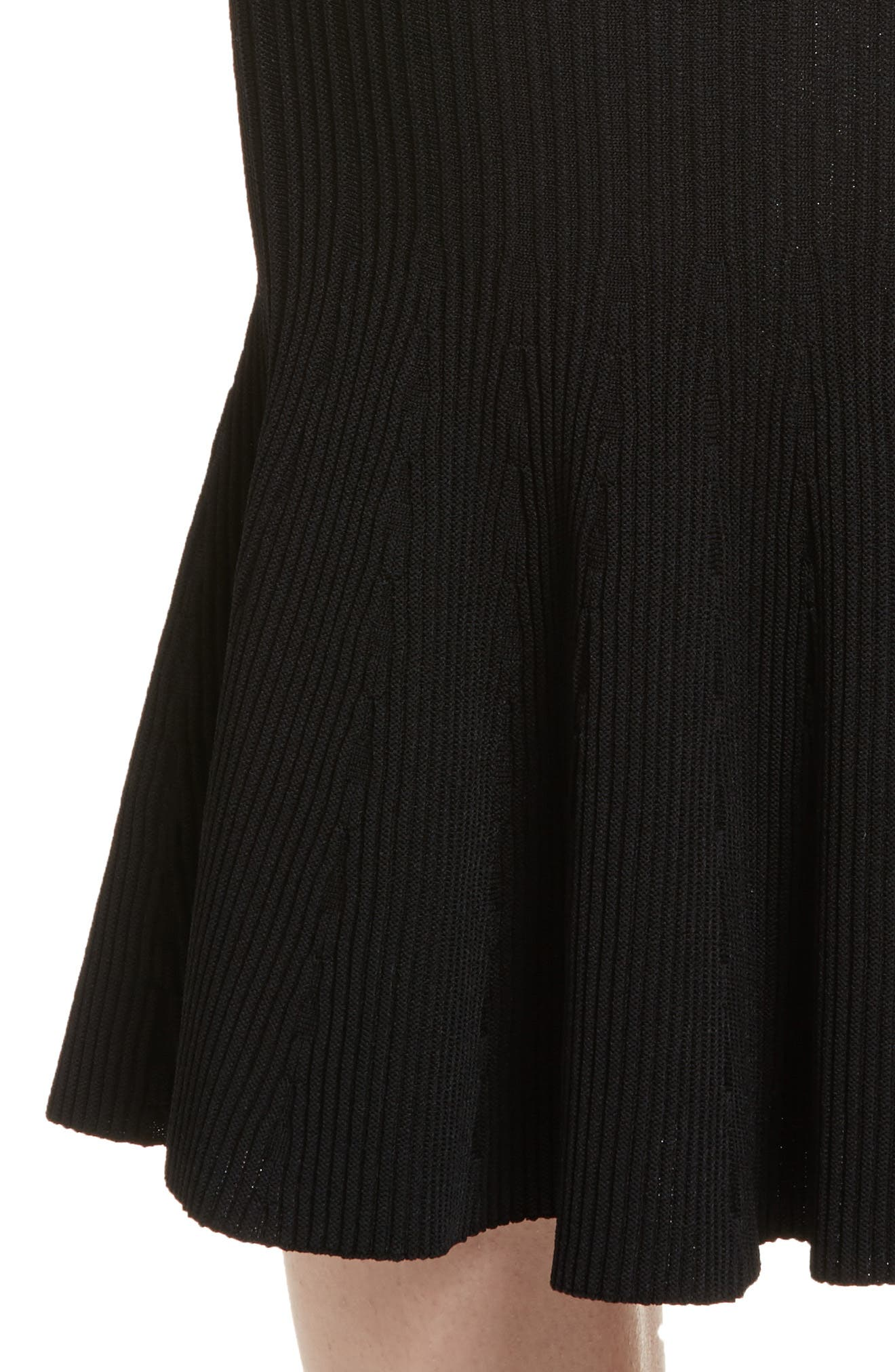 Rib Knit Trumpet Skirt,                             Alternate thumbnail 4, color,                             001