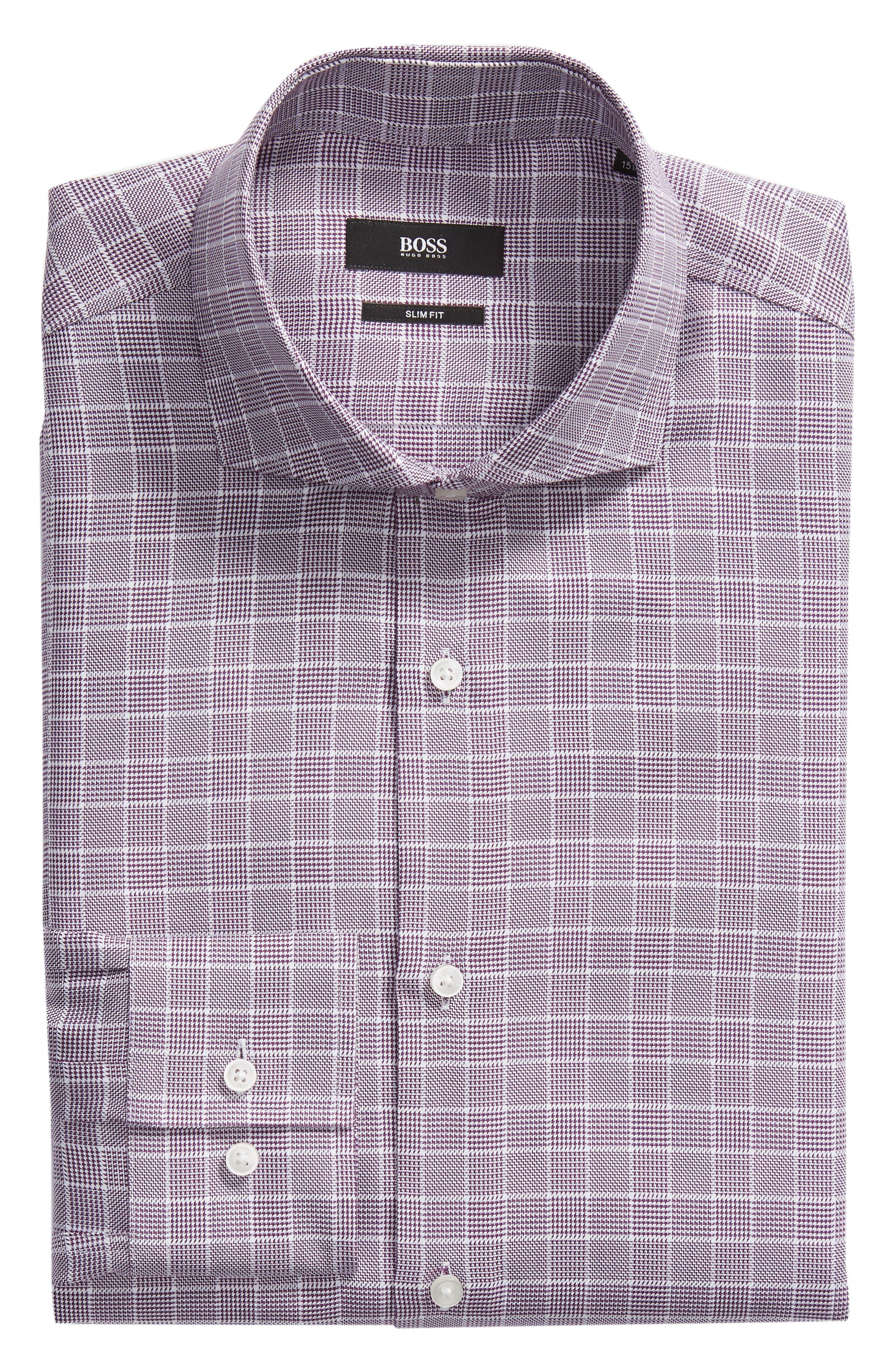 Jason Slim Fit Plaid Dress Shirt,                             Alternate thumbnail 5, color,                             504 PURPLE