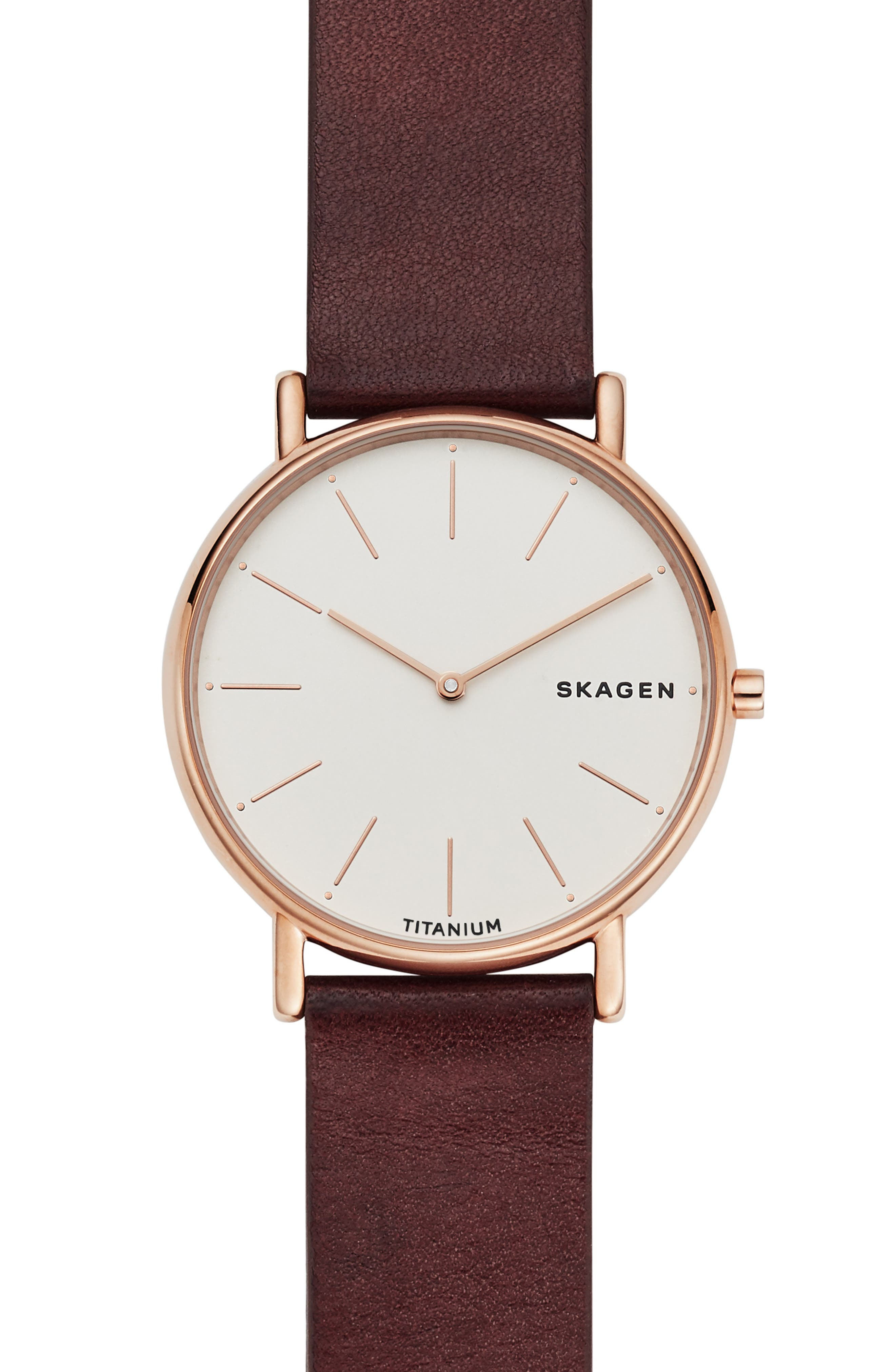 Signatur Leather Strap Watch, 40mm, Main, color, RED/ WHITE/ ROSE GOLD