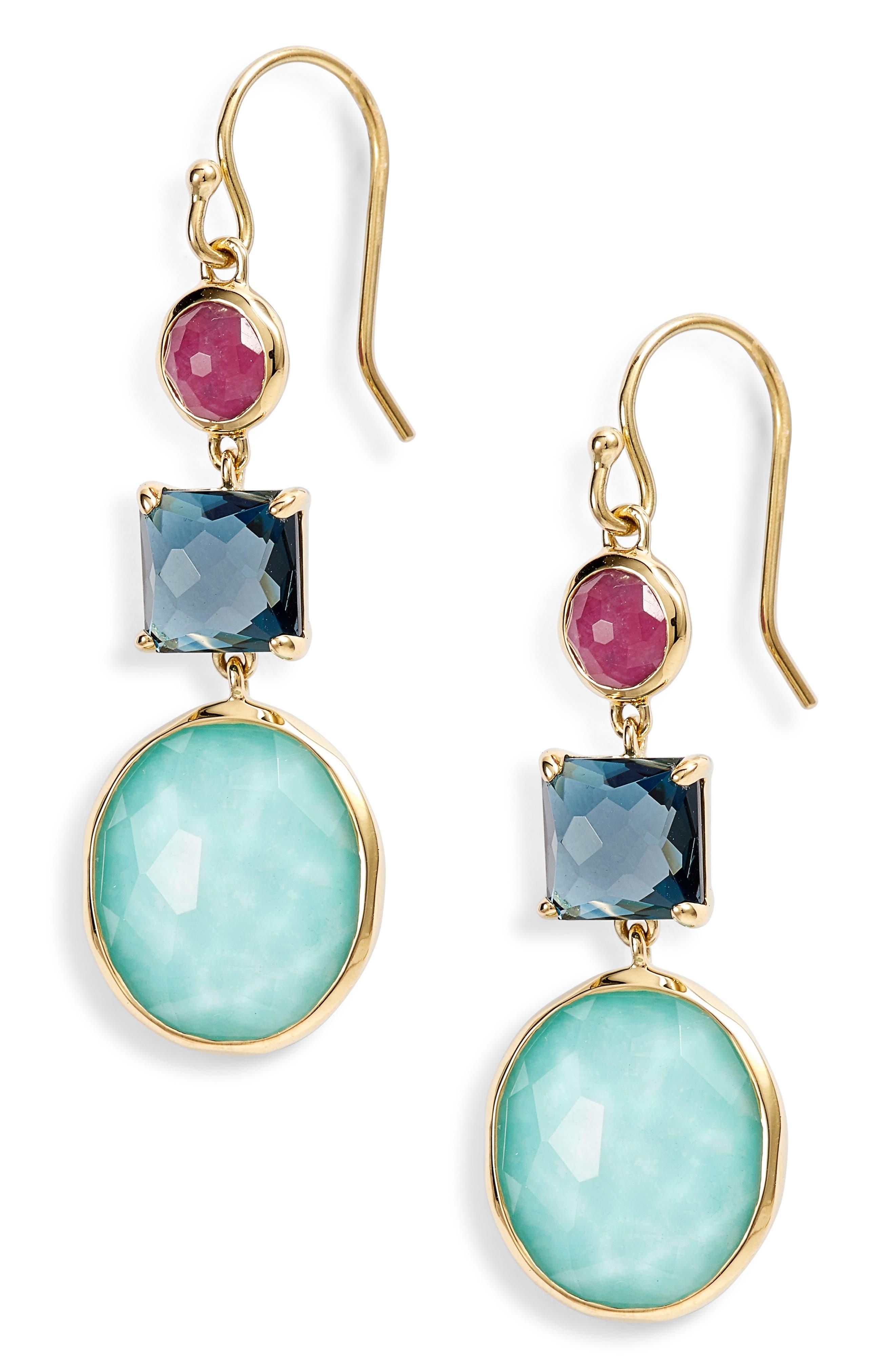 Rock Candy 18K Gold Triple Stone Earrings,                             Main thumbnail 1, color,                             GOLD/ SUMMER RAIN
