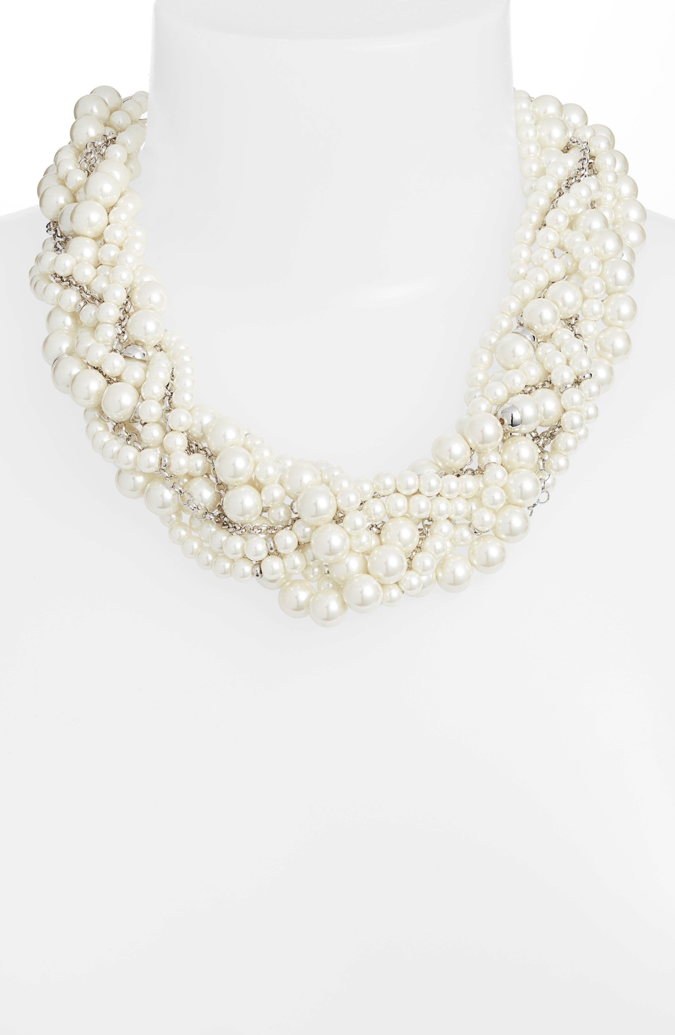 Braided Imitation Pearl Necklace,                             Alternate thumbnail 2, color,                             040