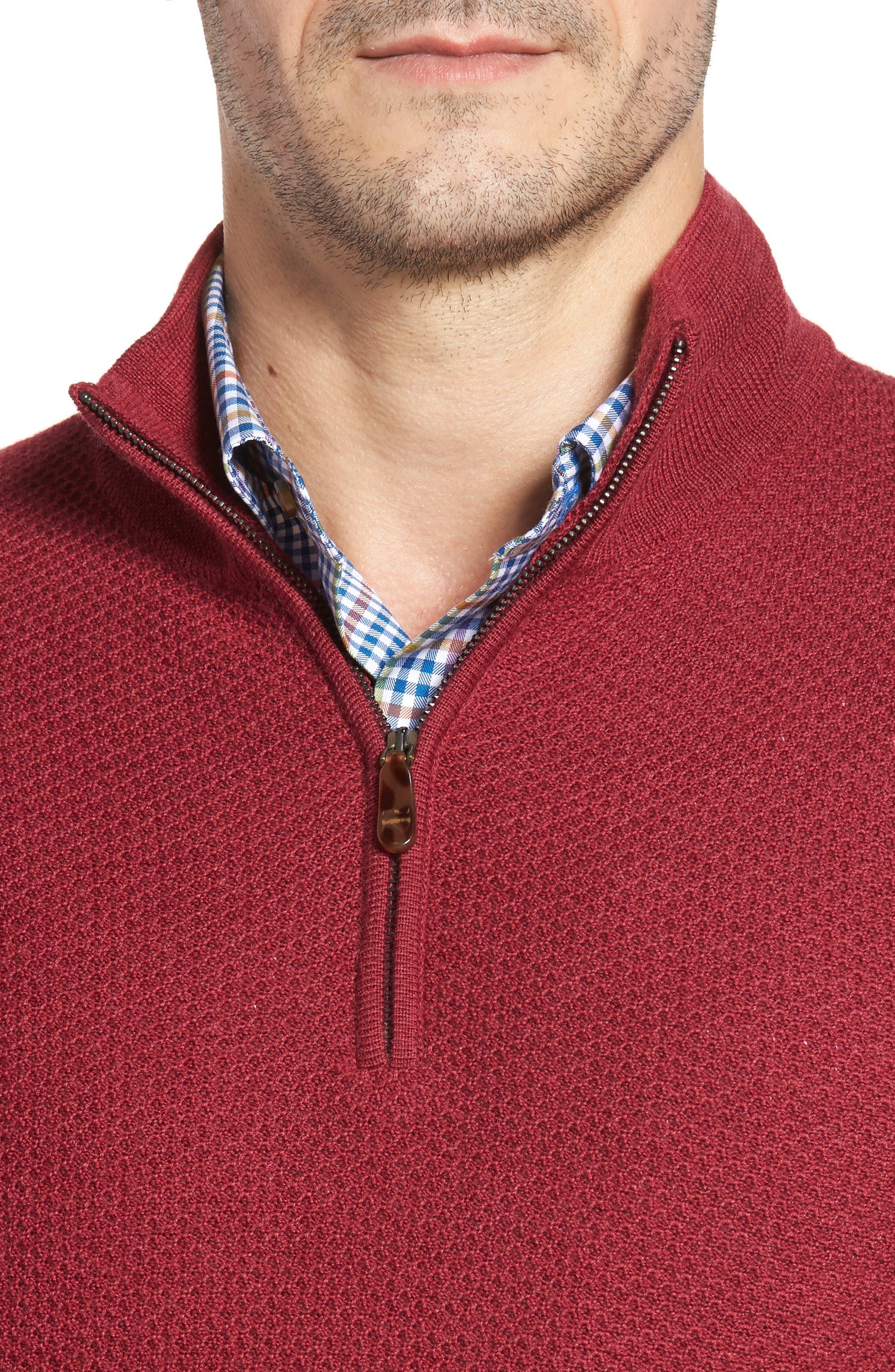 Honeycomb Merino Wool Quarter Zip Pullover,                             Alternate thumbnail 12, color,