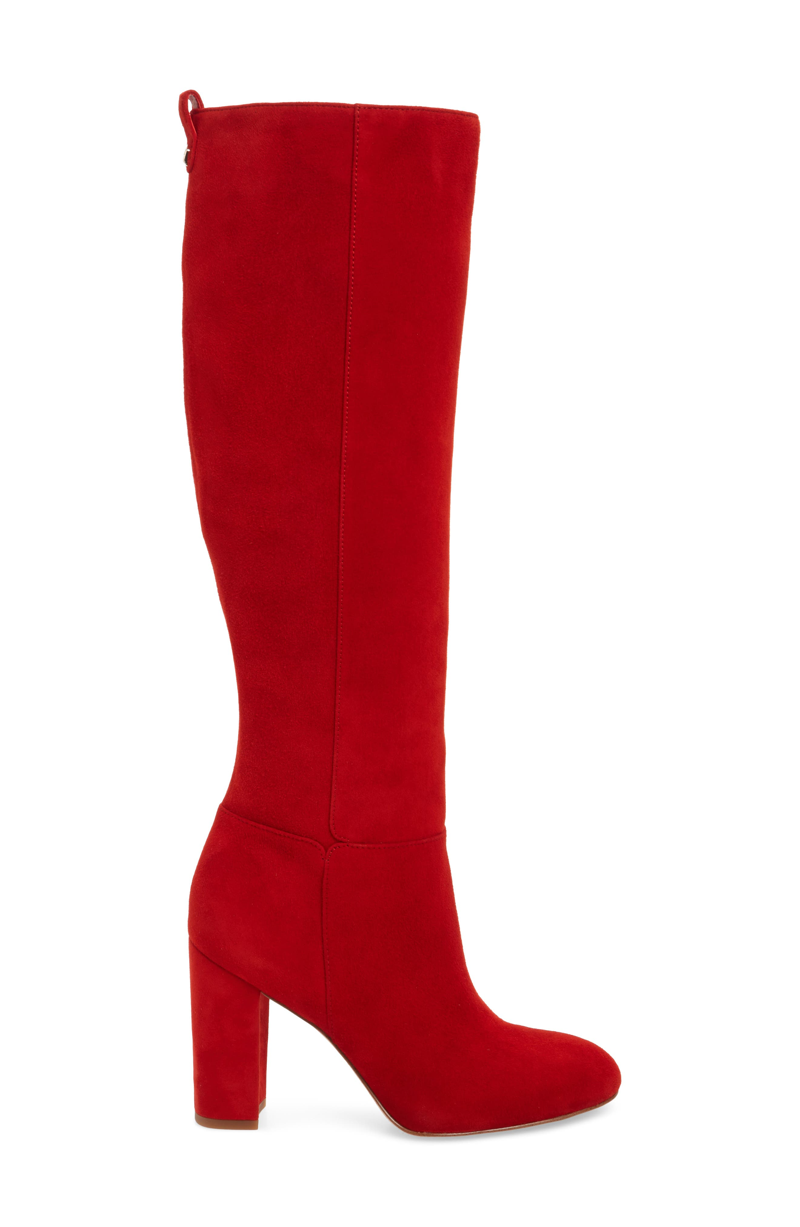 Caprice Knee-High Boot,                             Alternate thumbnail 3, color,                             CANDY RED SUEDE