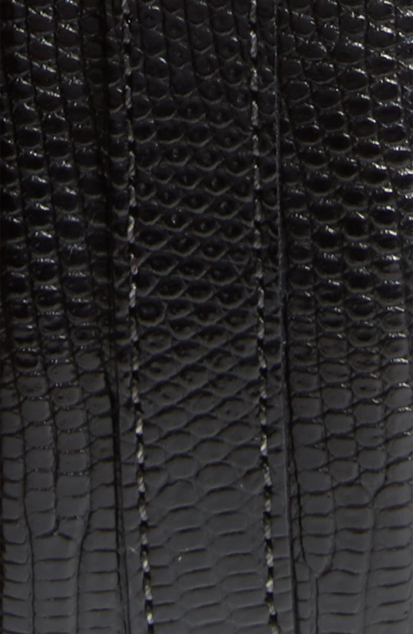 Lizard Leather Belt,                             Alternate thumbnail 2, color,                             BLACK