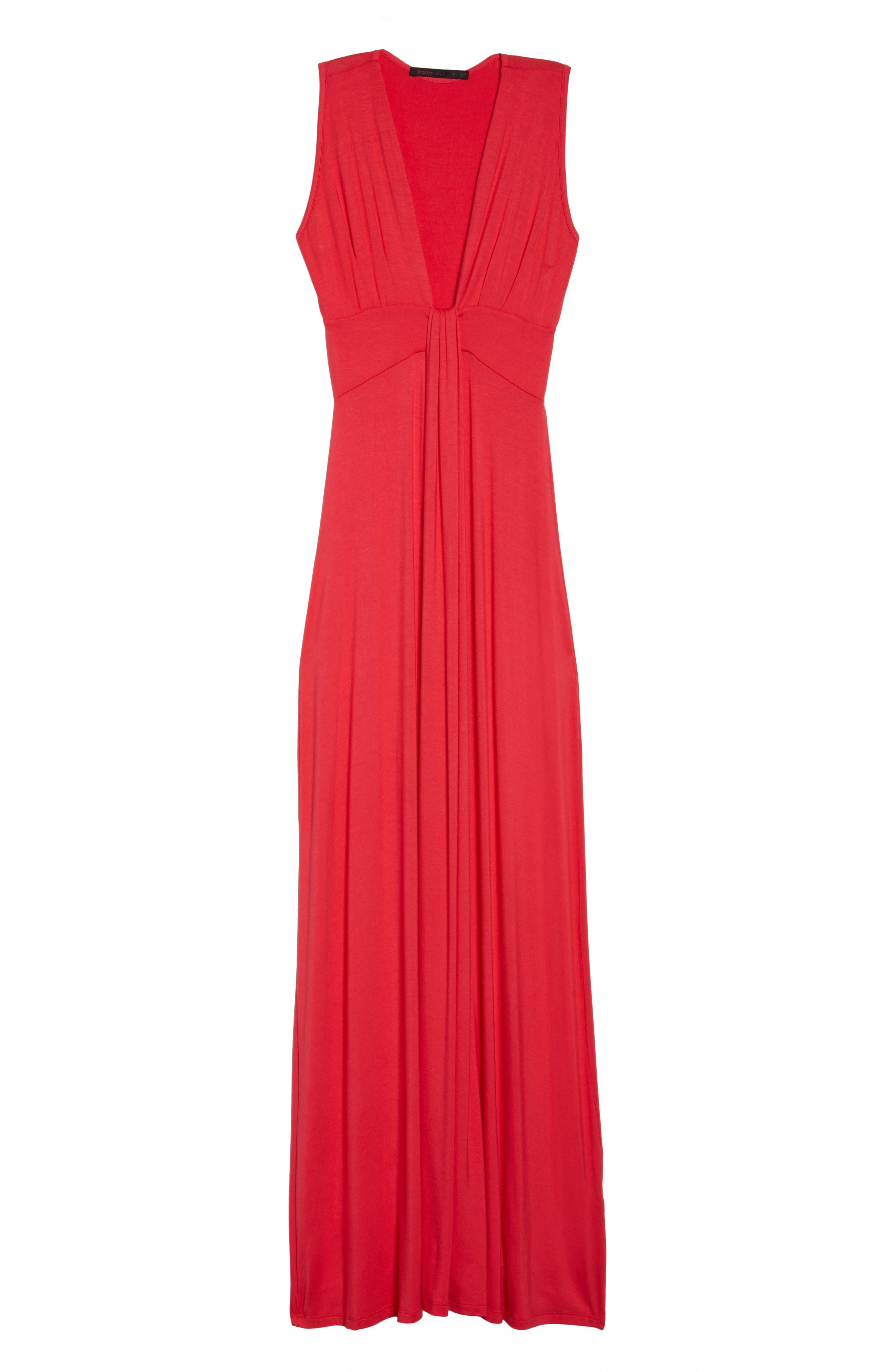 Deep V-Neck Jersey Maxi Dress,                             Alternate thumbnail 6, color,                             CORAL