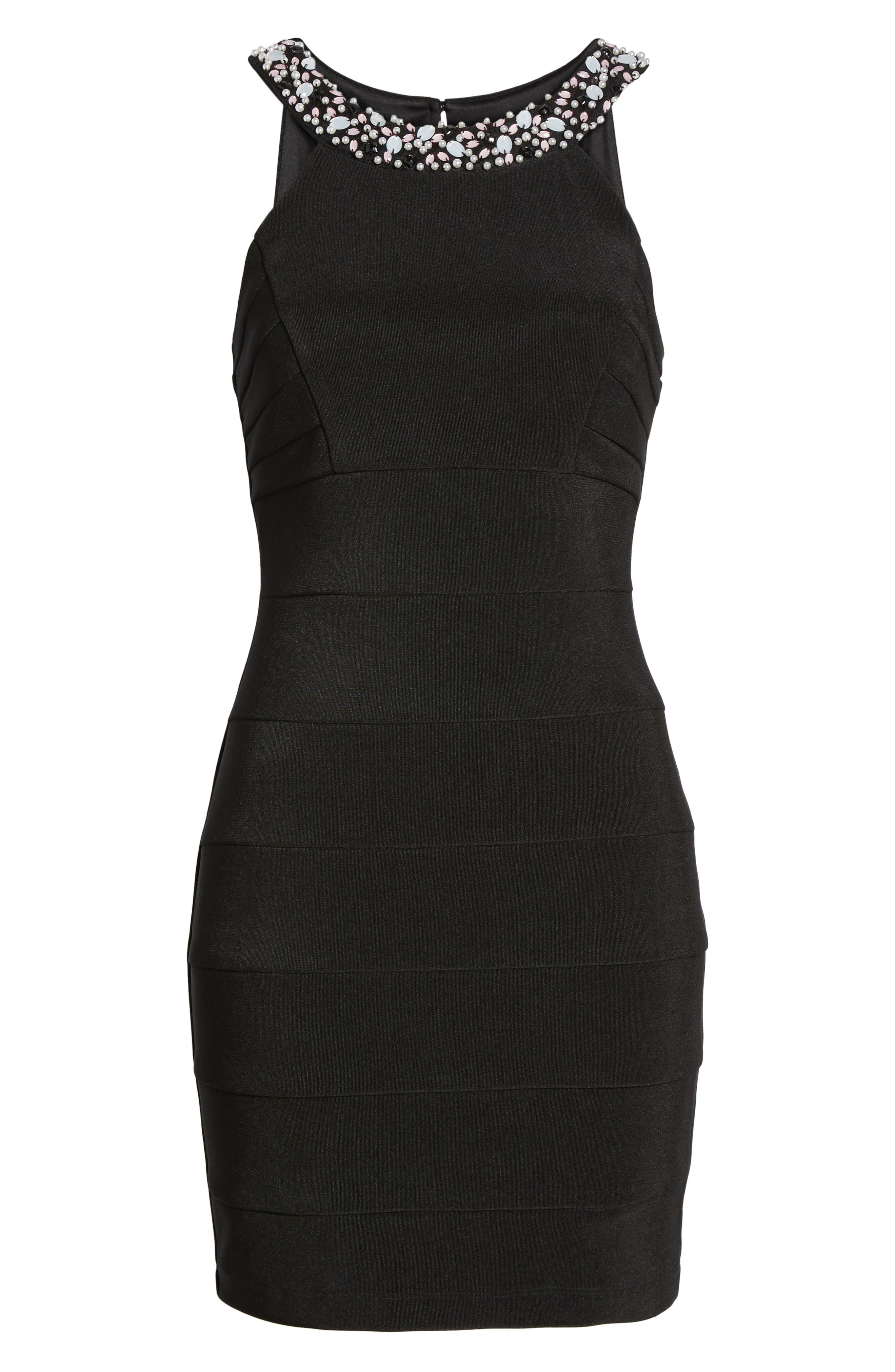 Love Nickie Lew Beaded Body Con Dress,                             Alternate thumbnail 6, color,