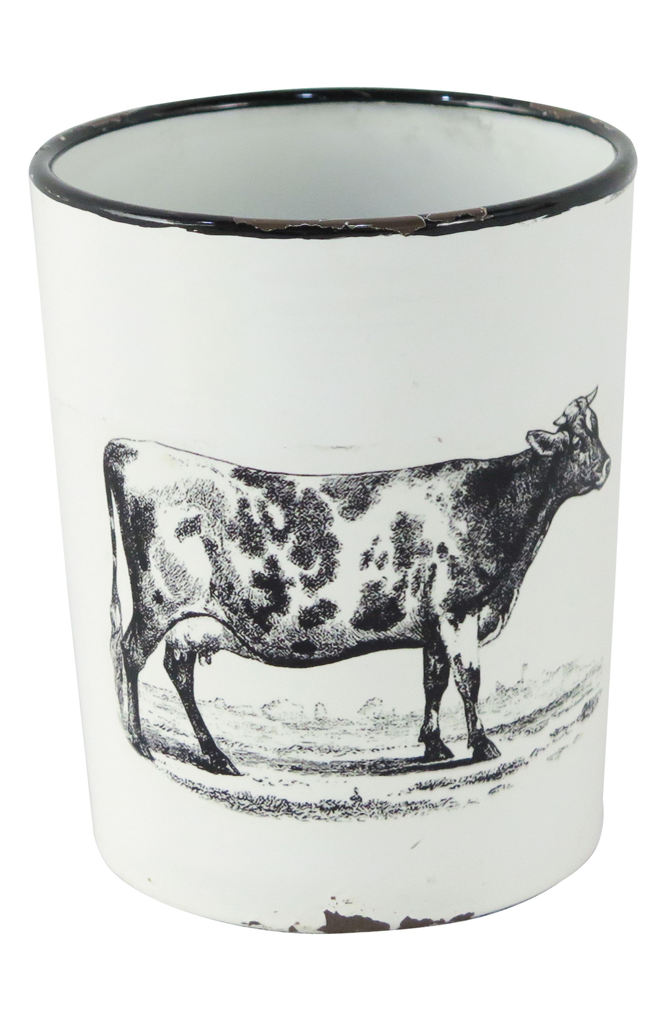 Enamel Cow Planter with Handle,                         Main,                         color, METAL