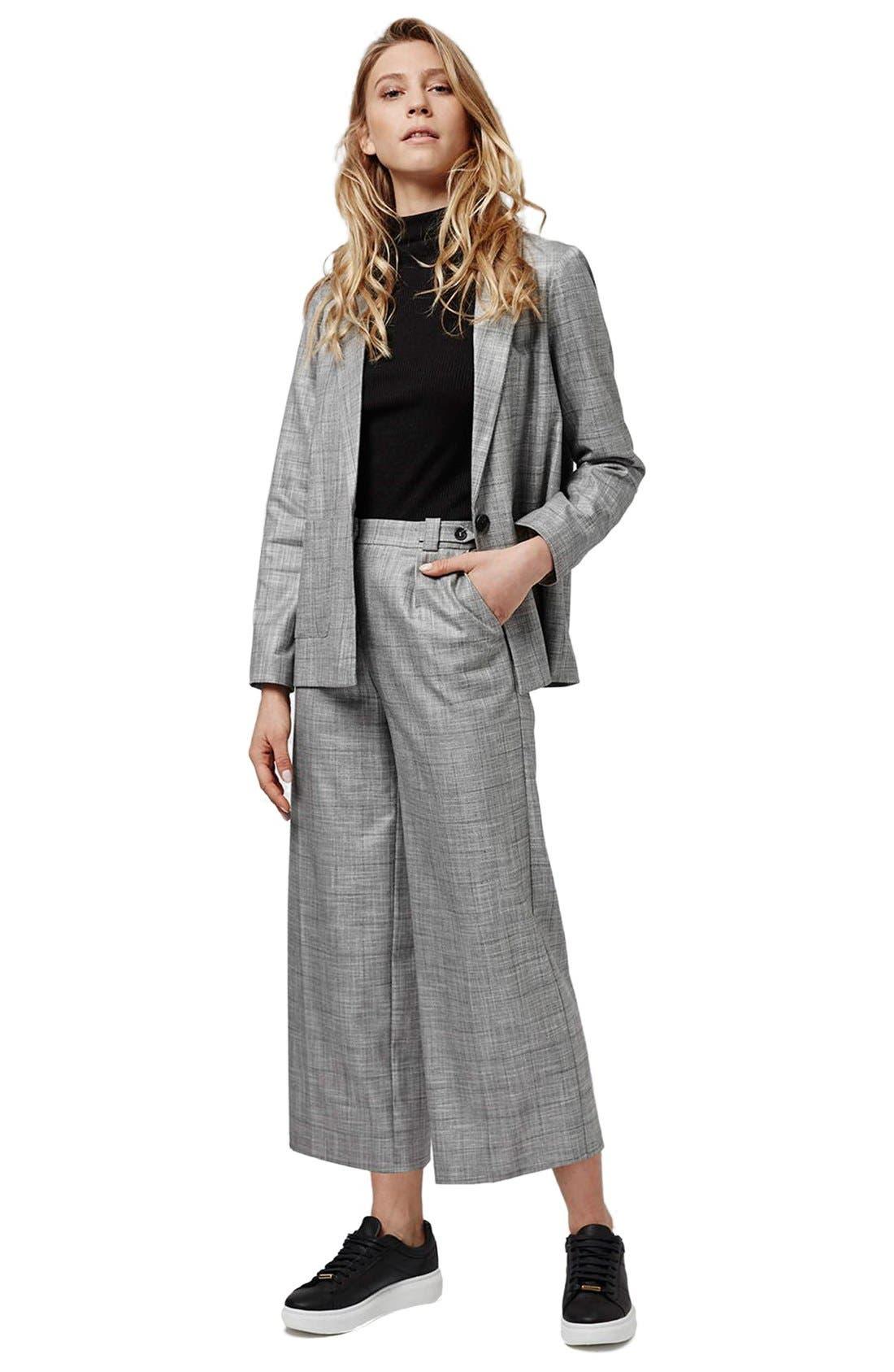 TOPSHOP,                             'Check Tonic' One-Button Suit Blazer,                             Alternate thumbnail 4, color,                             020