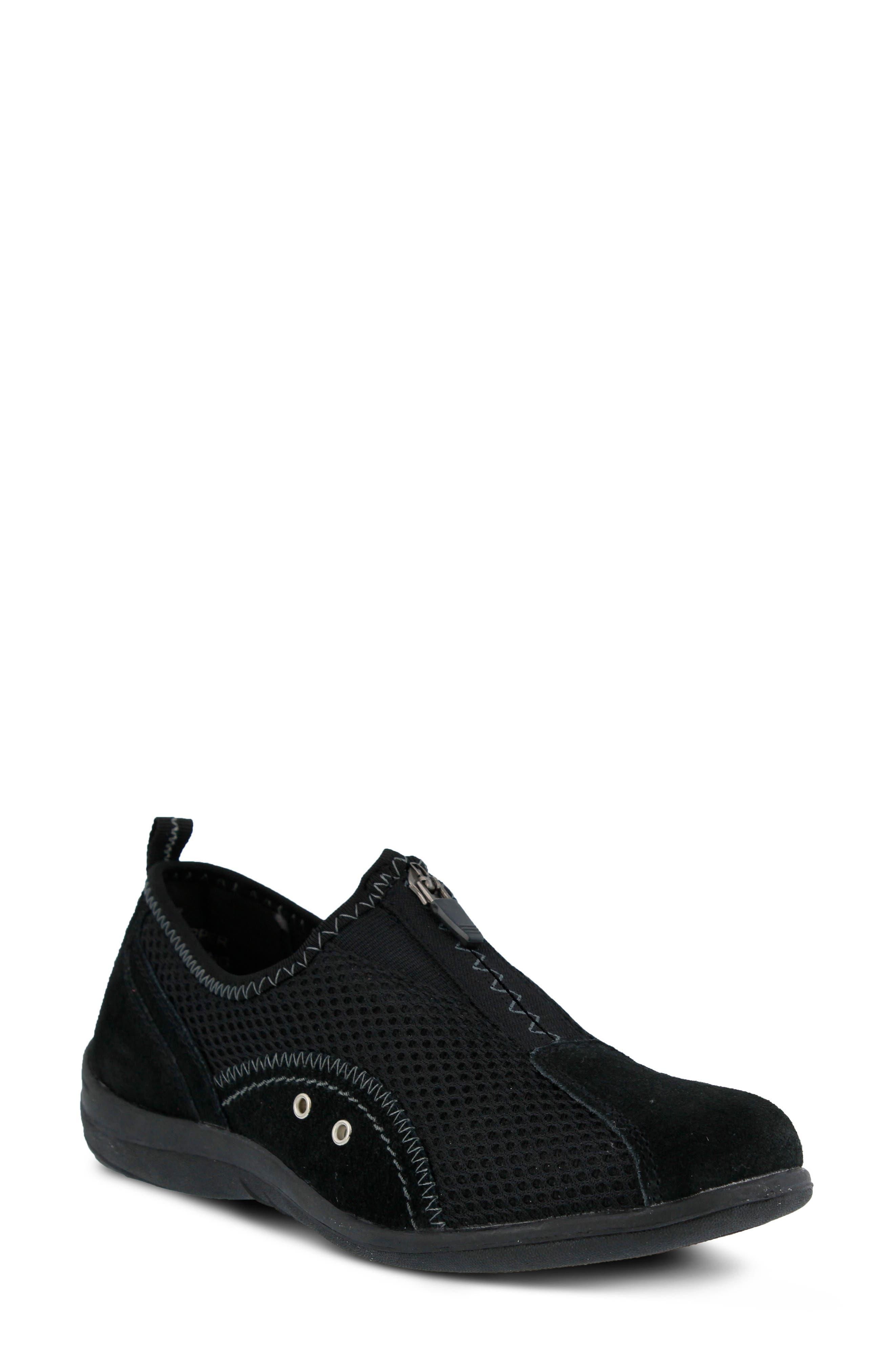 Racer Slip-On Sneaker,                             Main thumbnail 1, color,                             BLACK LEATHER