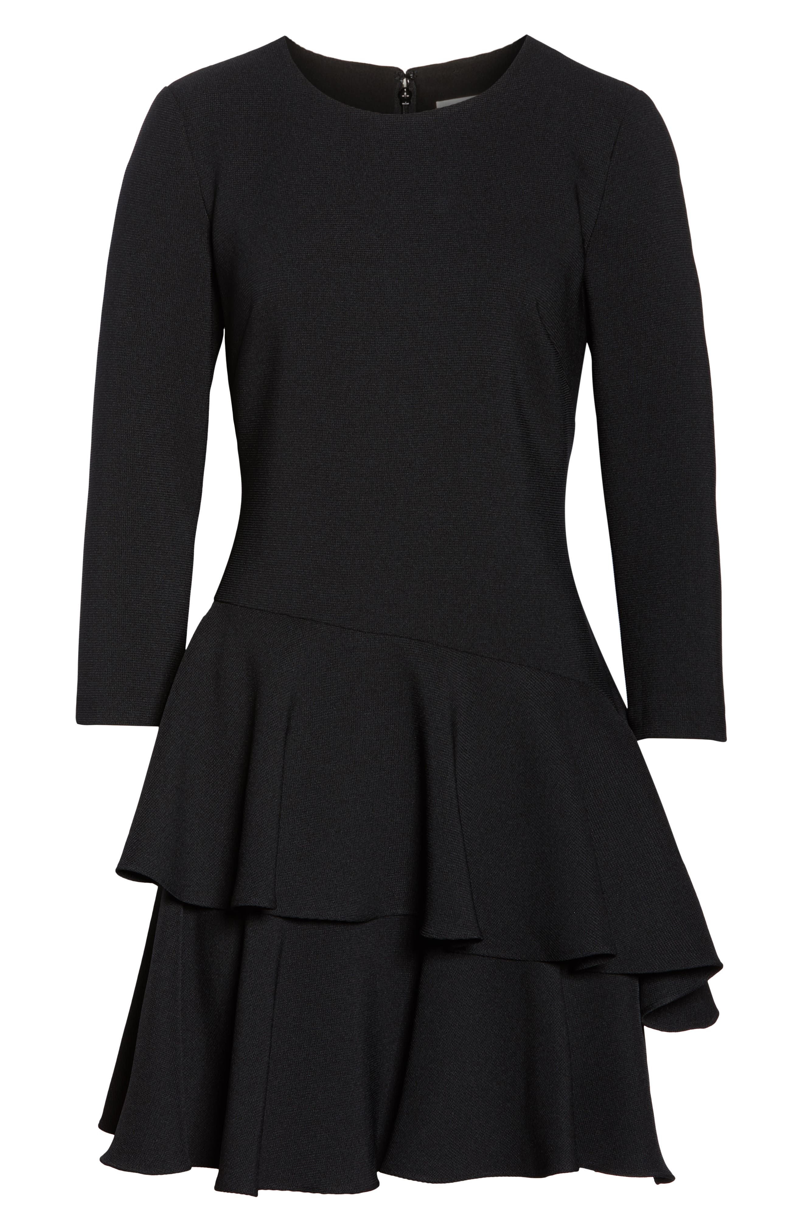 Tiered Ruffle Knit Dress,                             Alternate thumbnail 7, color,                             BLACK