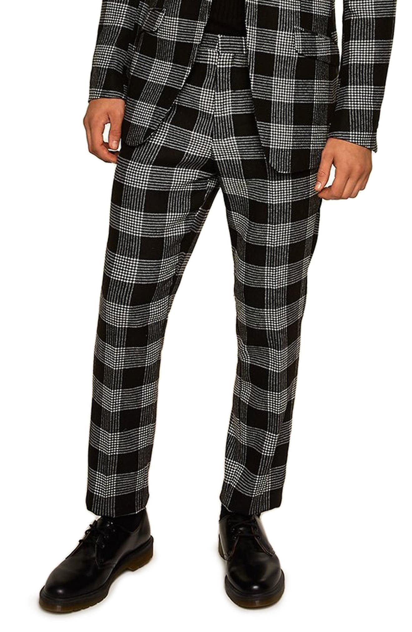 Leigh Classic Check Slim Fit Trousers,                             Main thumbnail 1, color,                             BLACK MULTI