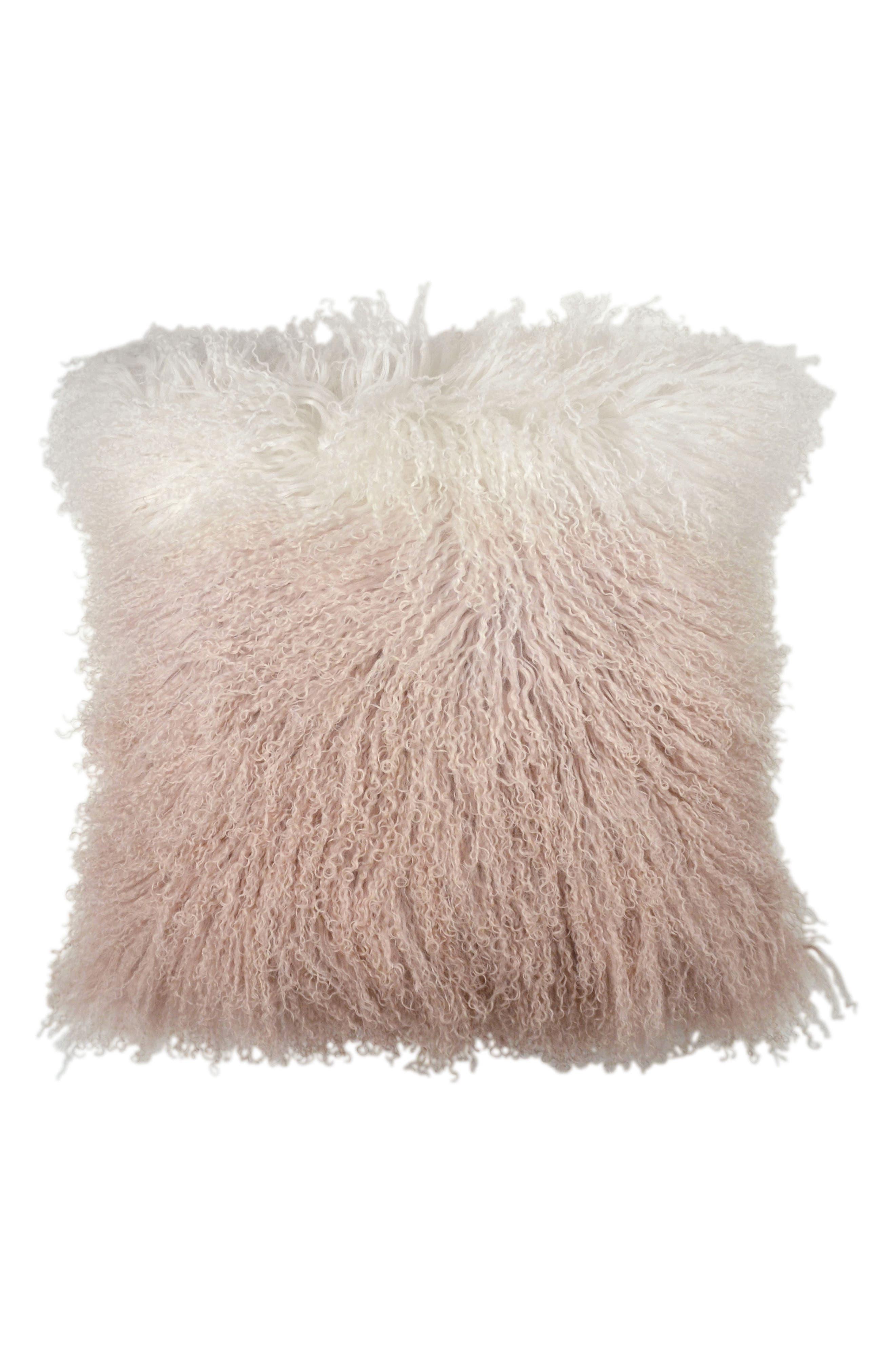 Dip Dye Sheepskin Accent Pillow,                         Main,                         color, BLUSH