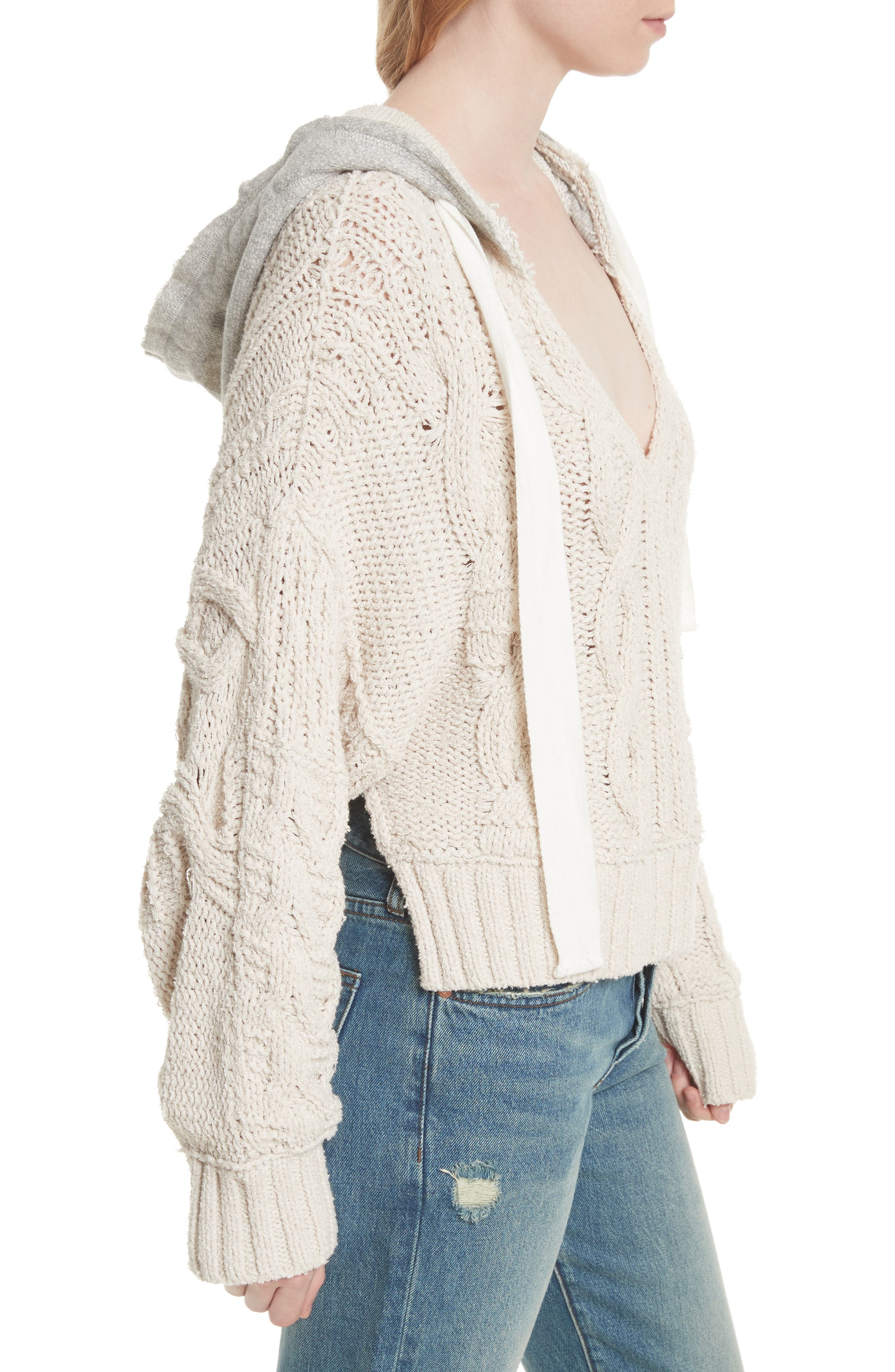 Tierra Cable Knit Hoodie,                             Alternate thumbnail 3, color,                             903