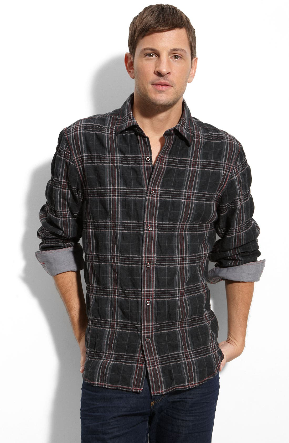 JAMES CAMPBELL,                             J. Campbell Crinkled Plaid Shirt,                             Main thumbnail 1, color,                             001