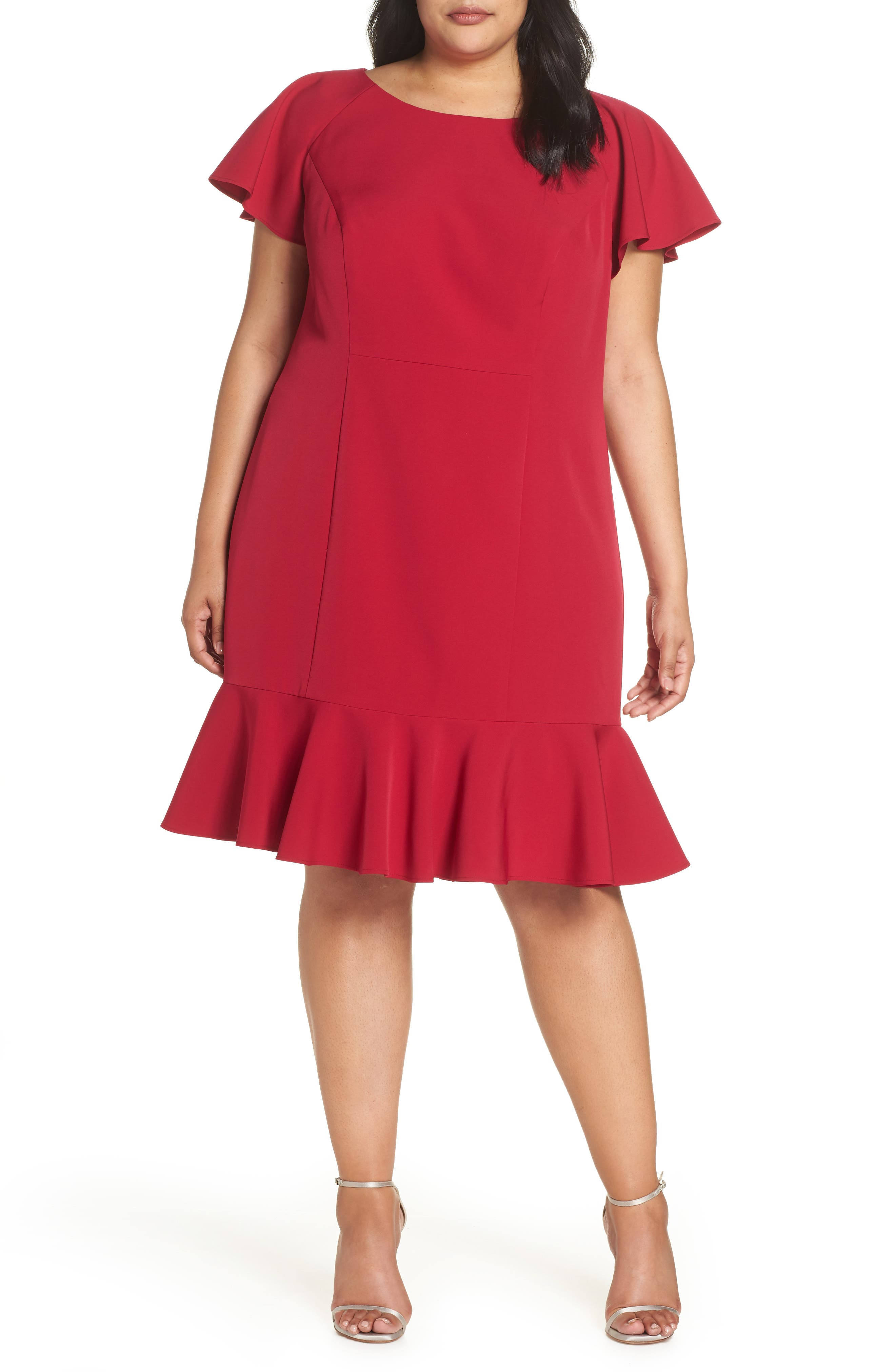 Plus Size Eliza J Ruffle Hem Sheath Dress
