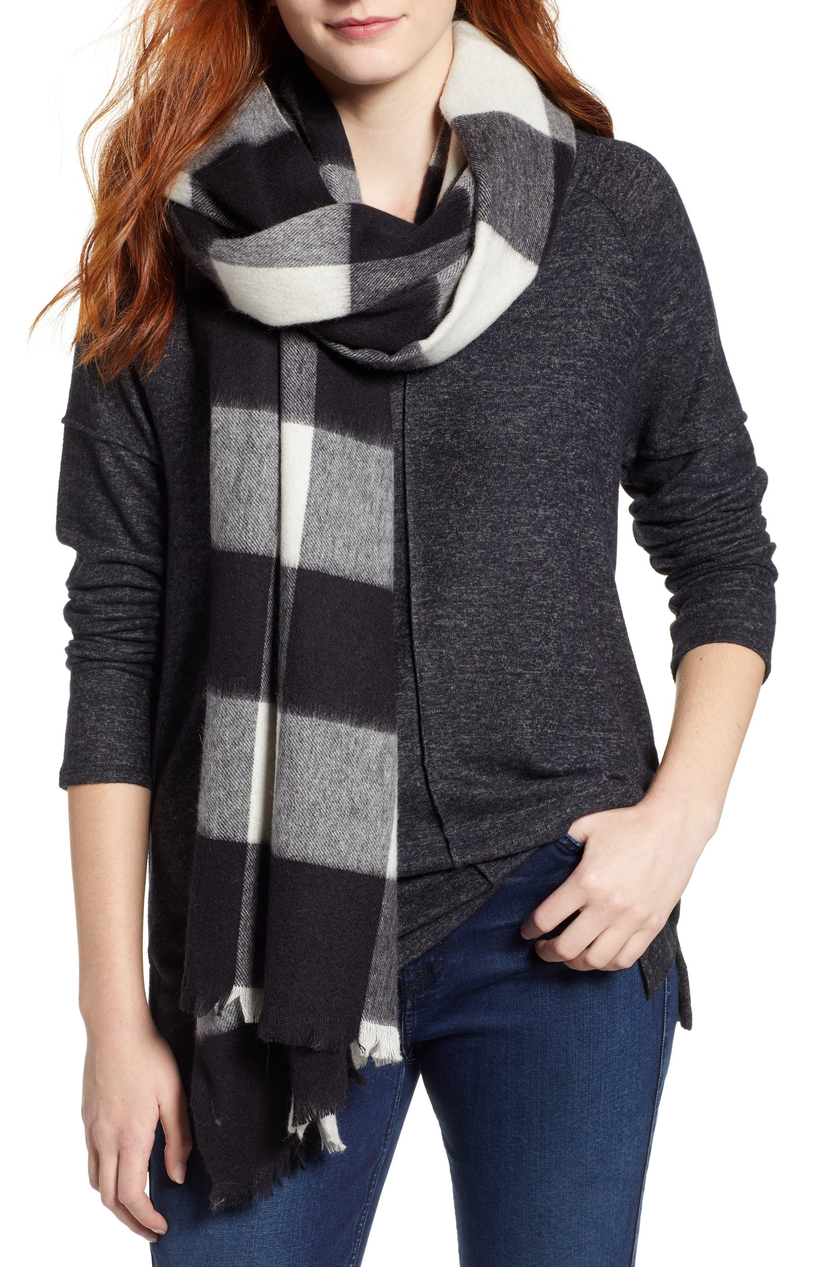mega check wool scarf,                             Main thumbnail 1, color,                             CREAM/ BLACK