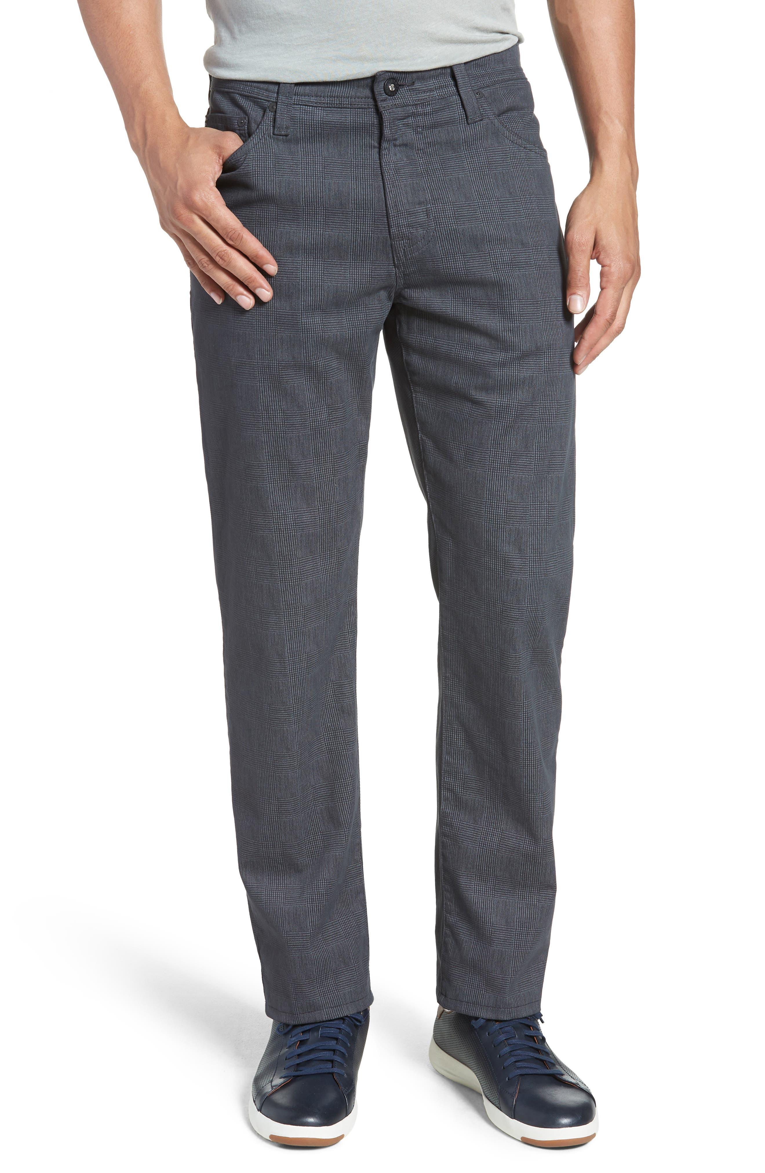 Everett SUD Print Slim Straight Leg Pants,                         Main,                         color, FINE PLAID GREY STONE