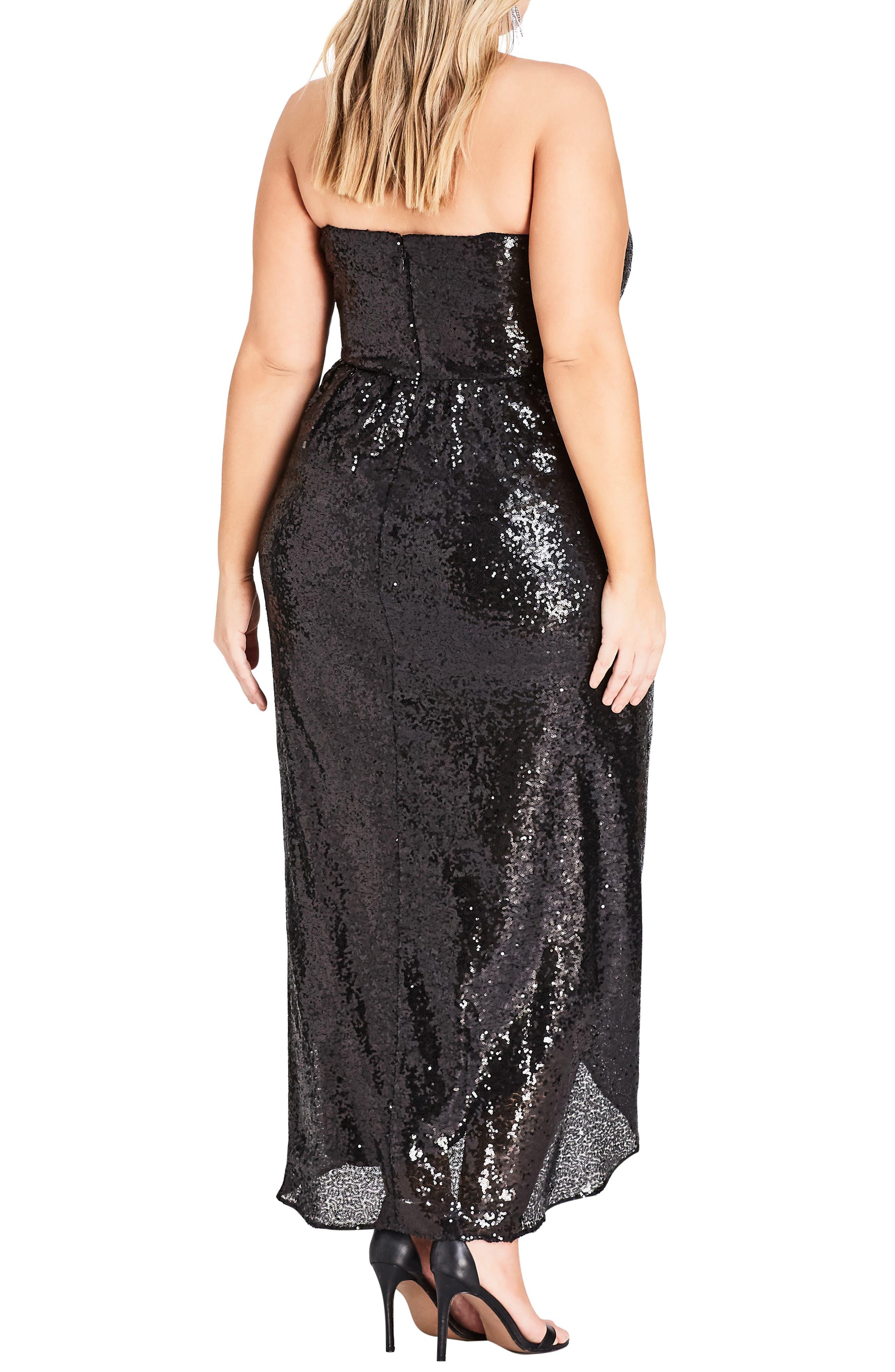 Siren Sequin Convertible Strapless Gown,                             Alternate thumbnail 2, color,                             BLACK