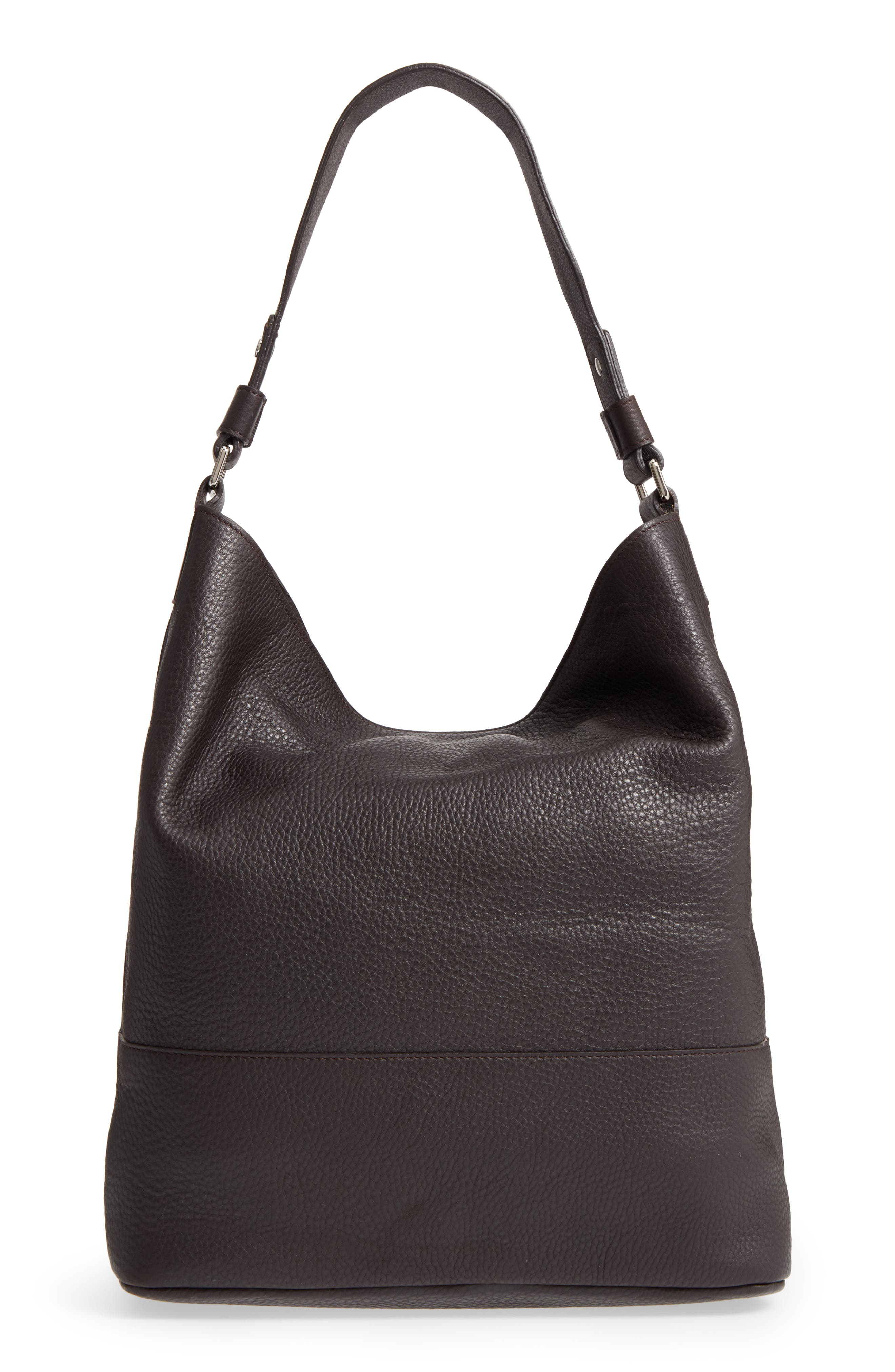 Relaxed Calfskin Leather Hobo Bag,                             Alternate thumbnail 3, color,                             240