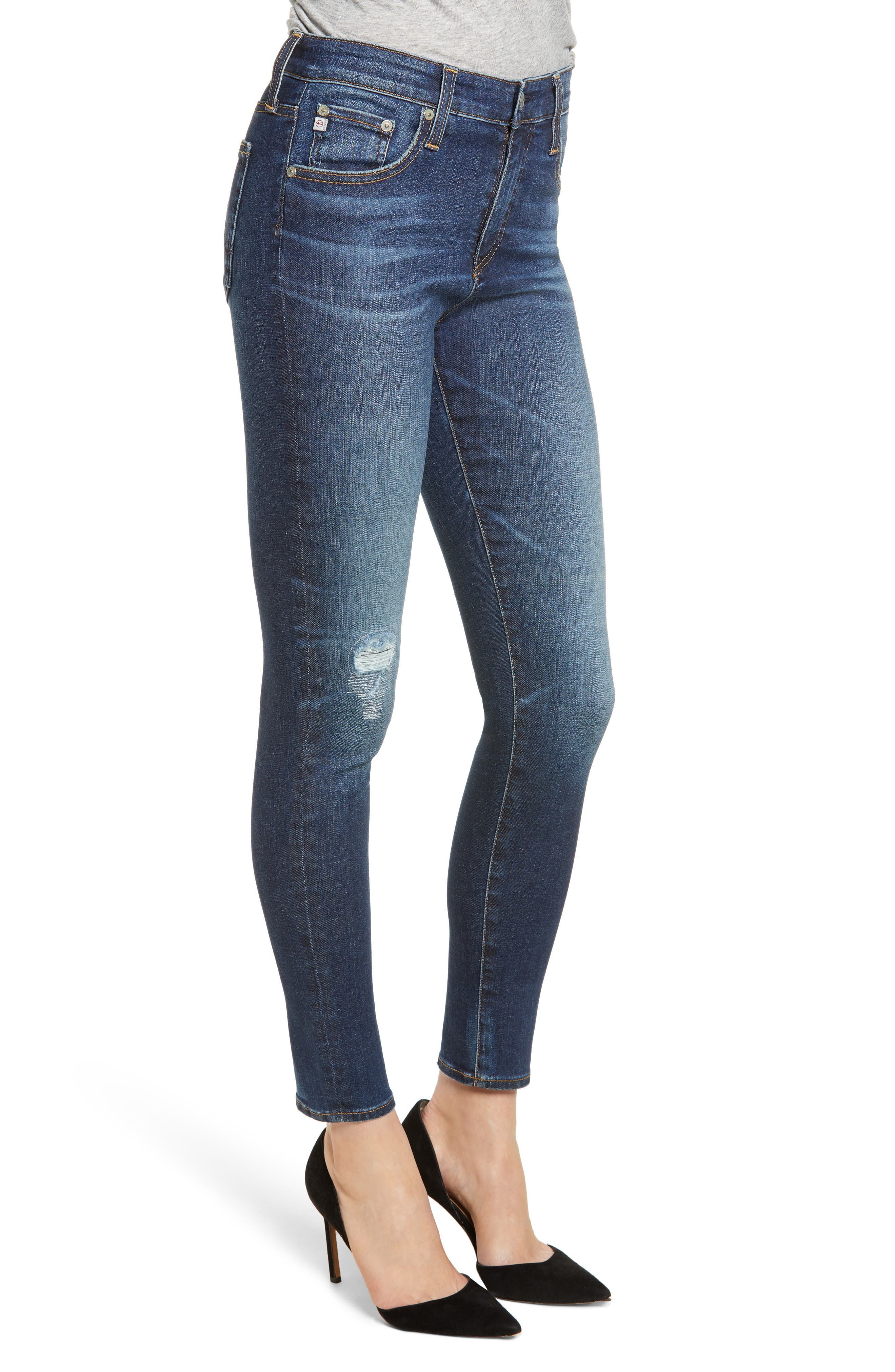 The Farrah High Waist Ankle Skinny Jeans,                             Alternate thumbnail 3, color,                             11Y SHIFTED MENDED