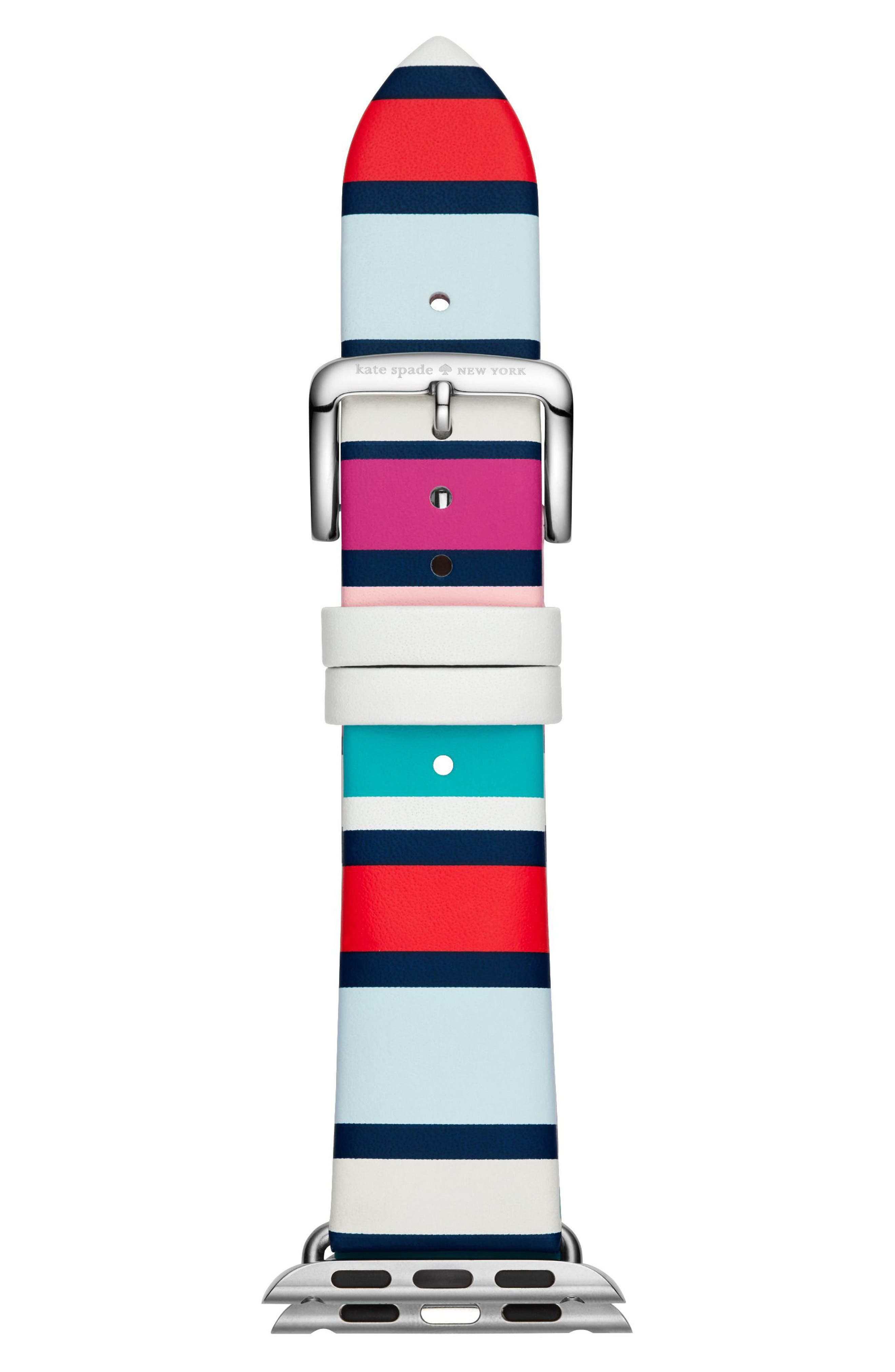 Apple<sup>®</sup> Watch strap, 38mm,                         Main,                         color, BLUE MULTI/ SILVER