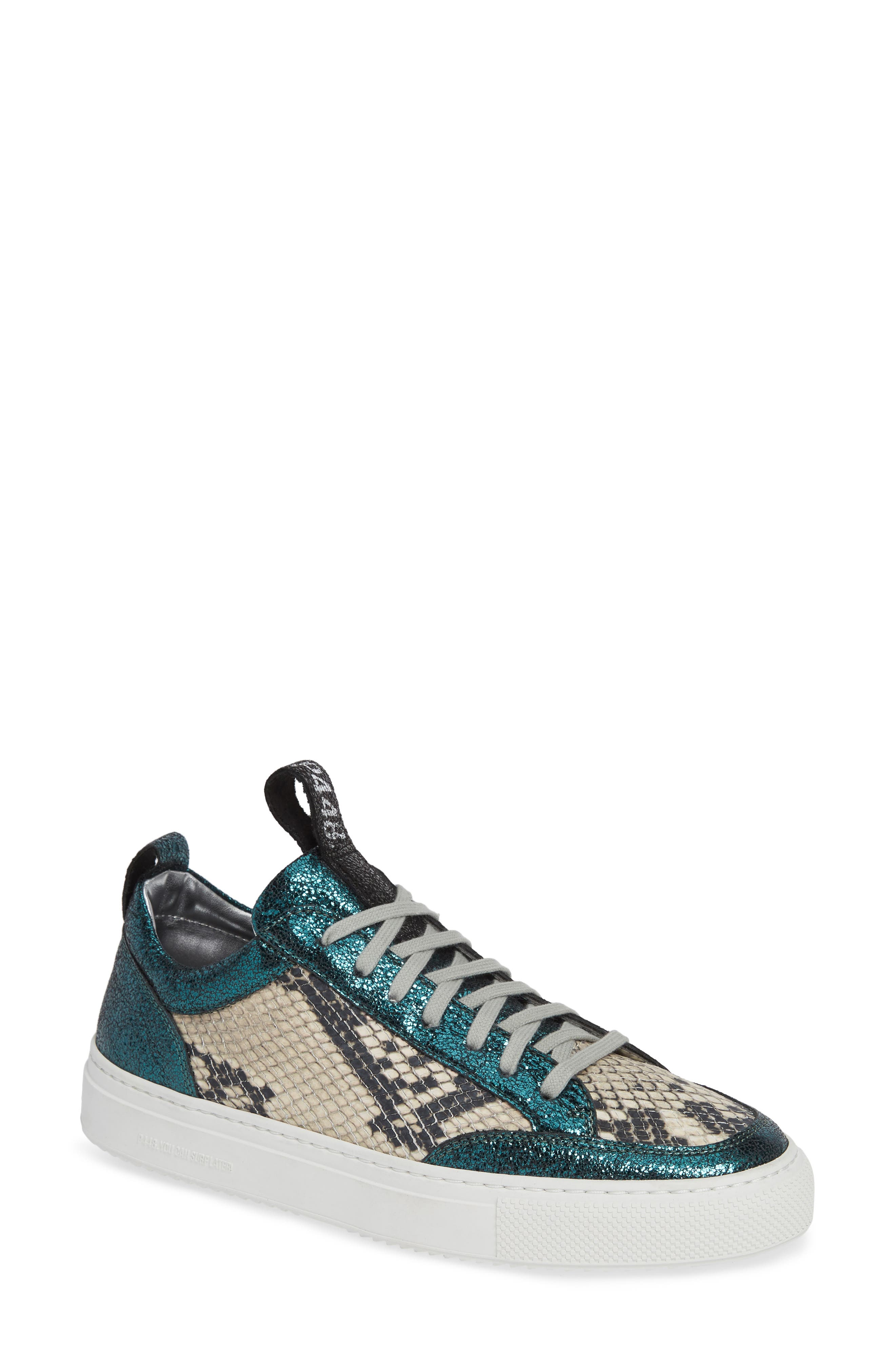 P448 Women'S Soho Crackled & Snake-Embossed Leather Lace-Up Sneakers in White/ Blue Sparkle