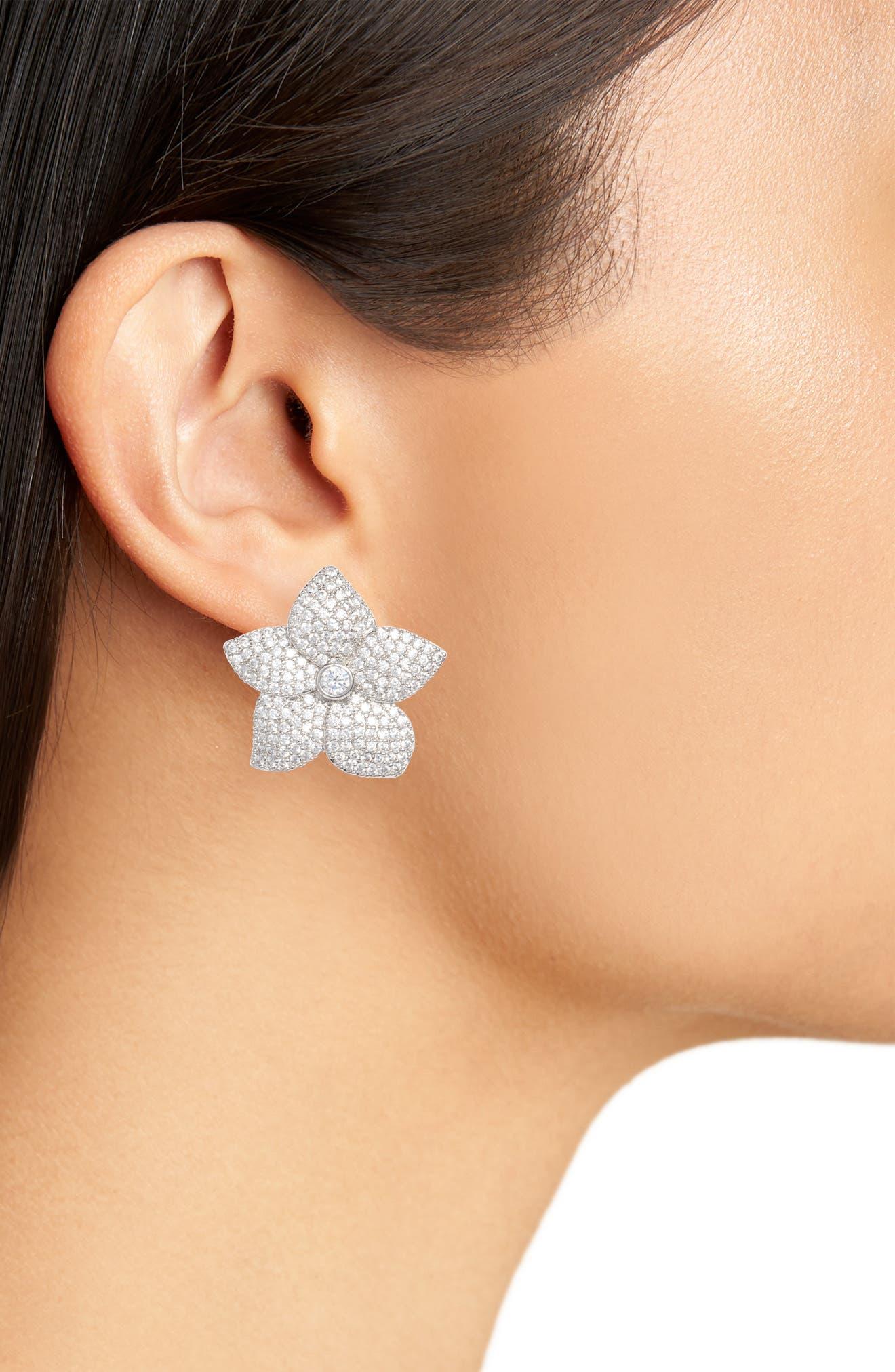 blooming pavé stud earrings,                             Alternate thumbnail 2, color,                             040