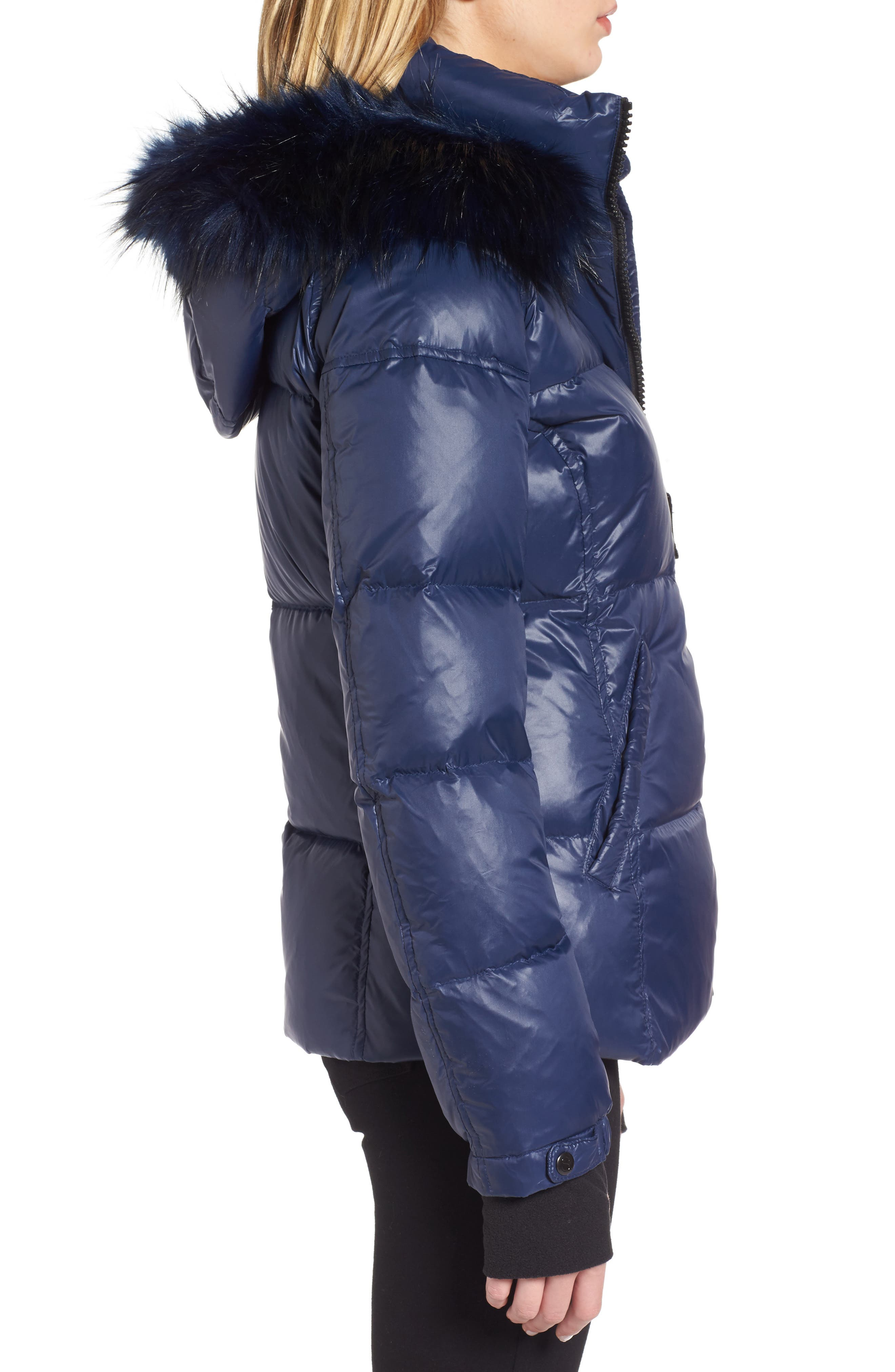 Kylie Faux Fur Trim Gloss Puffer Jacket,                             Alternate thumbnail 14, color,