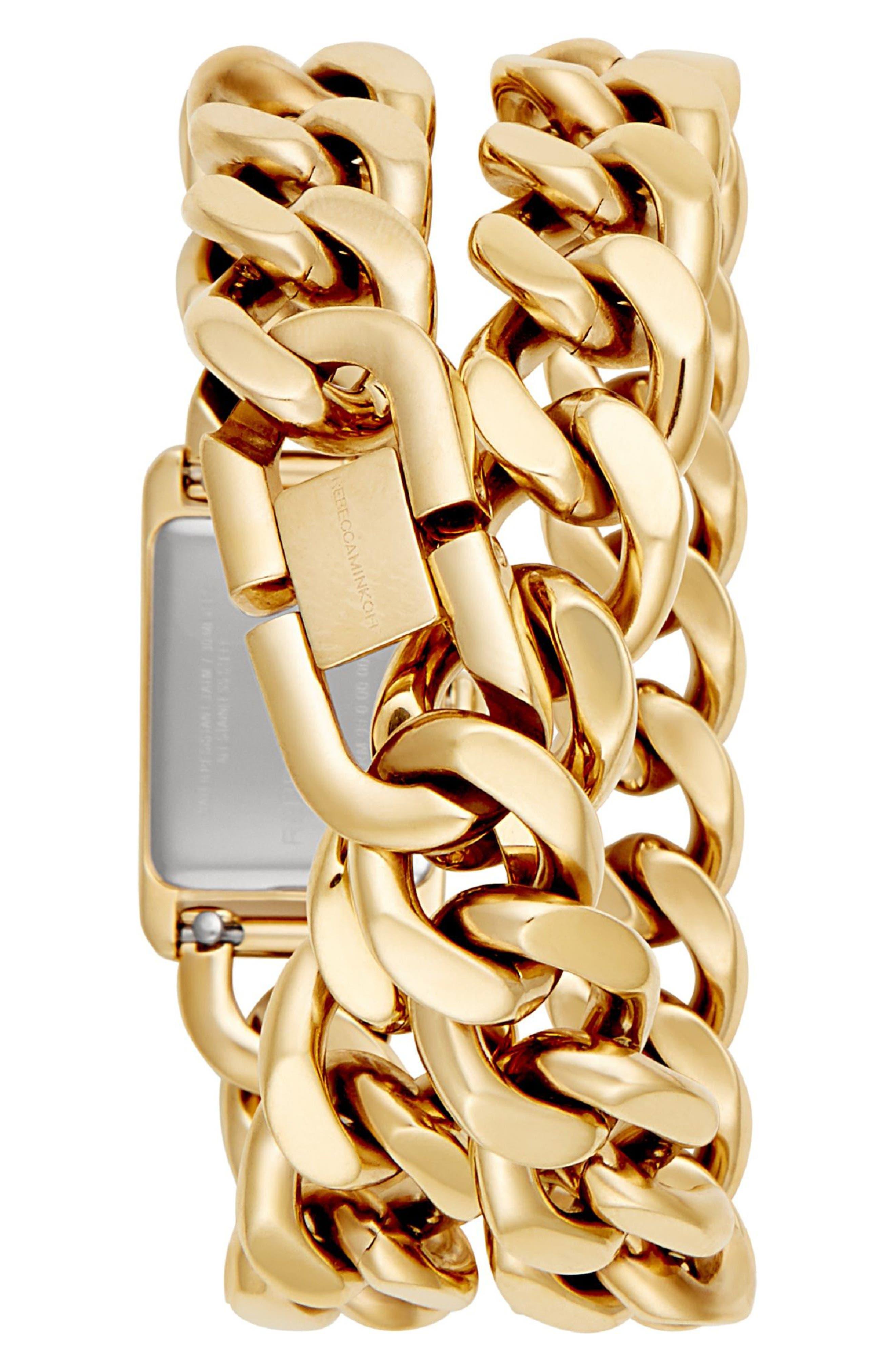 Moment Chain Wrap Bracelet Watch, 19mm x 30mm,                             Alternate thumbnail 2, color,                             GOLD/ BLACK/ GOLD