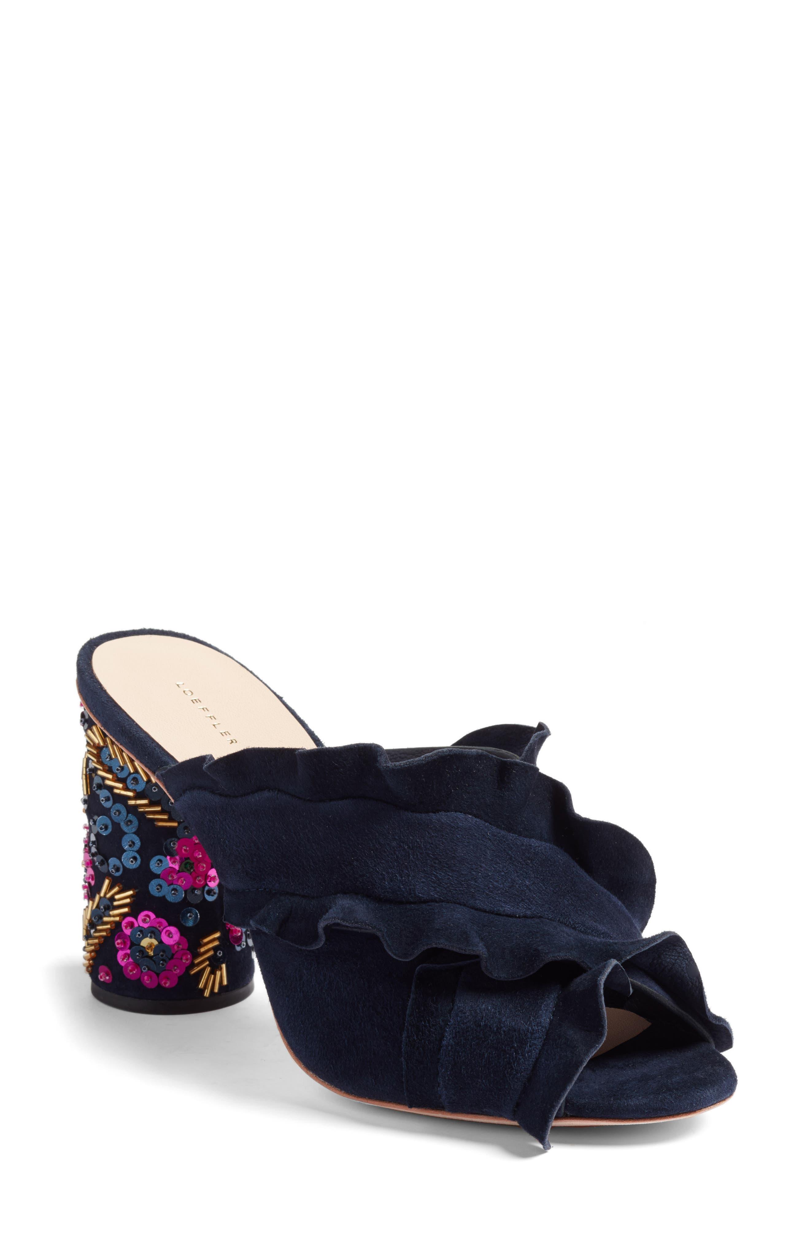 Kaya Embellished Ruffle Slide Sandal,                             Main thumbnail 1, color,                             499