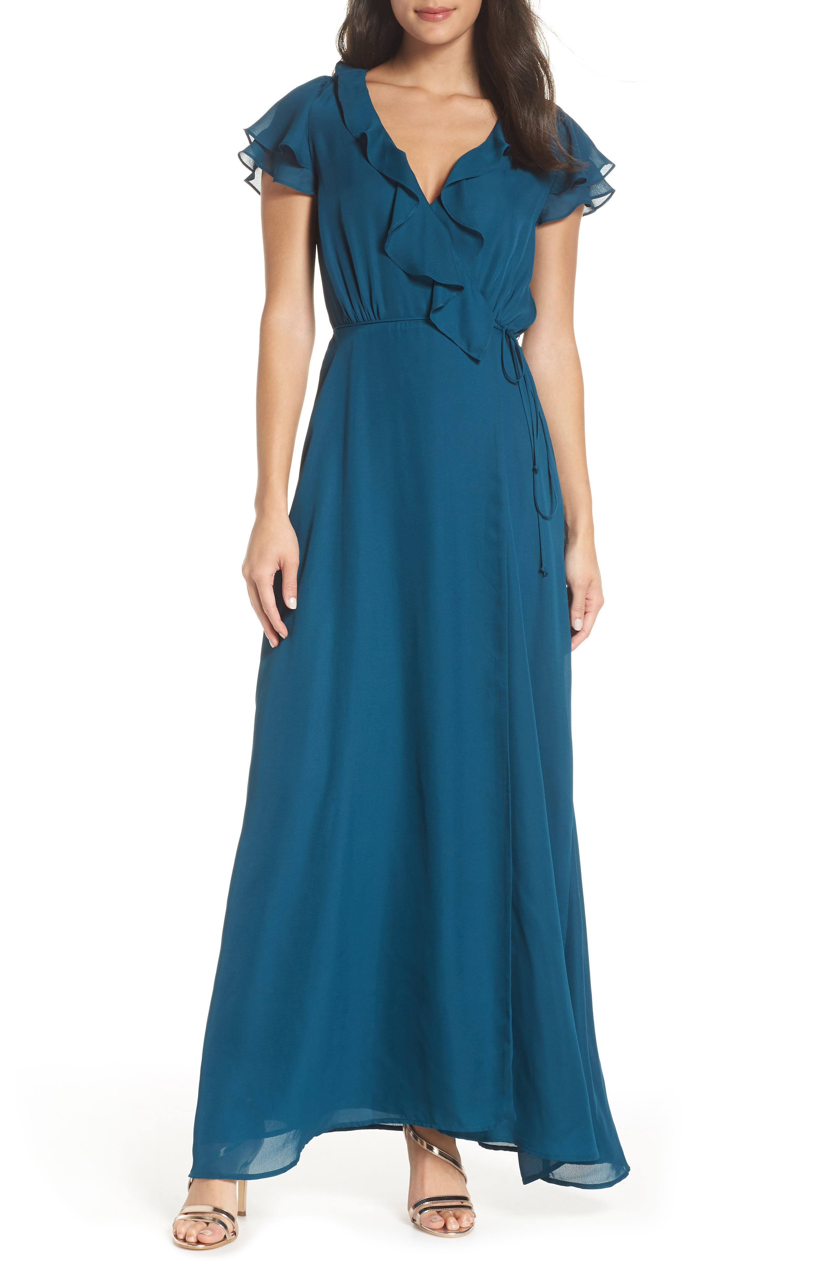 WAYF The Evaline Flutter Ruffle Wrap Gown in Teal