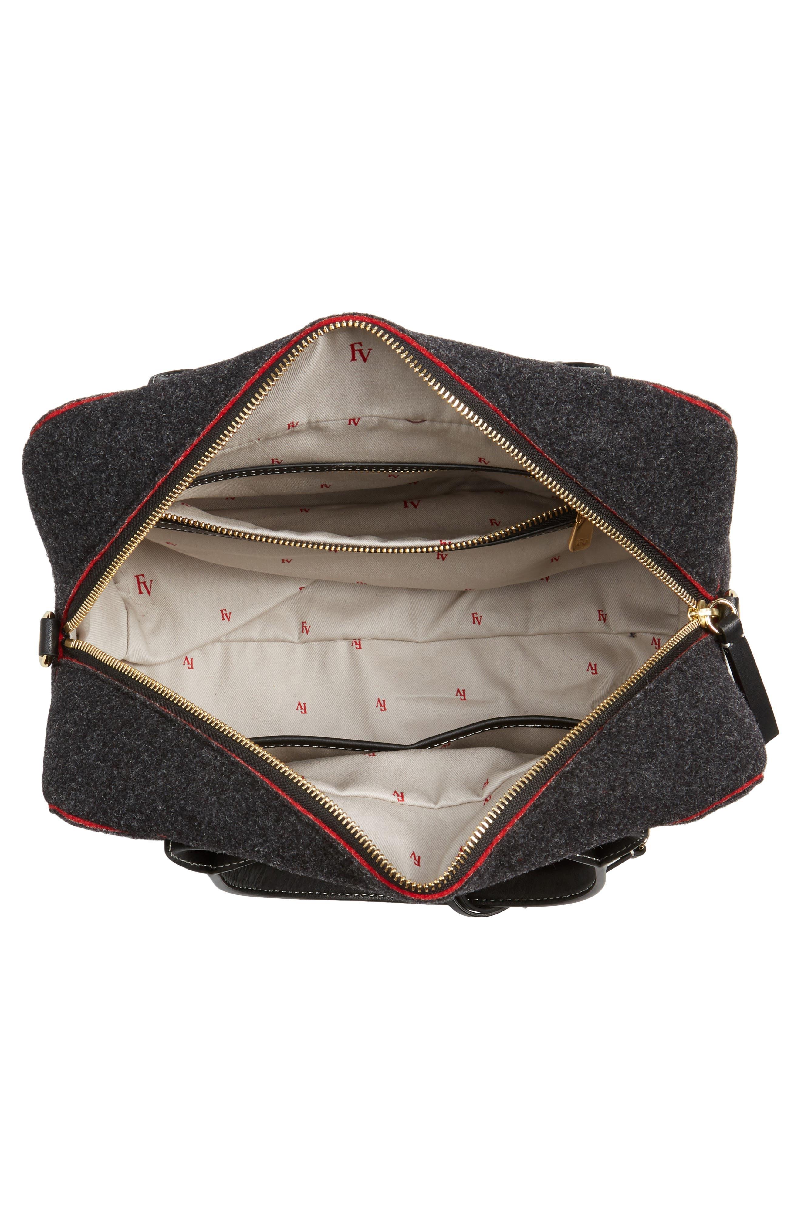 Medium Wool & Leather Satchel,                             Alternate thumbnail 4, color,                             020