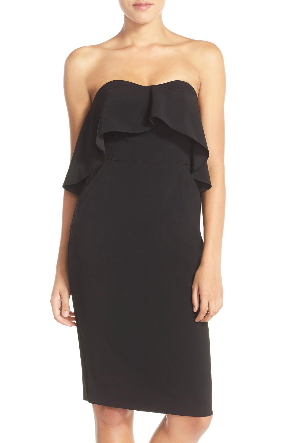 Ruffle Stretch Crepe Sheath Dress,                         Main,                         color,