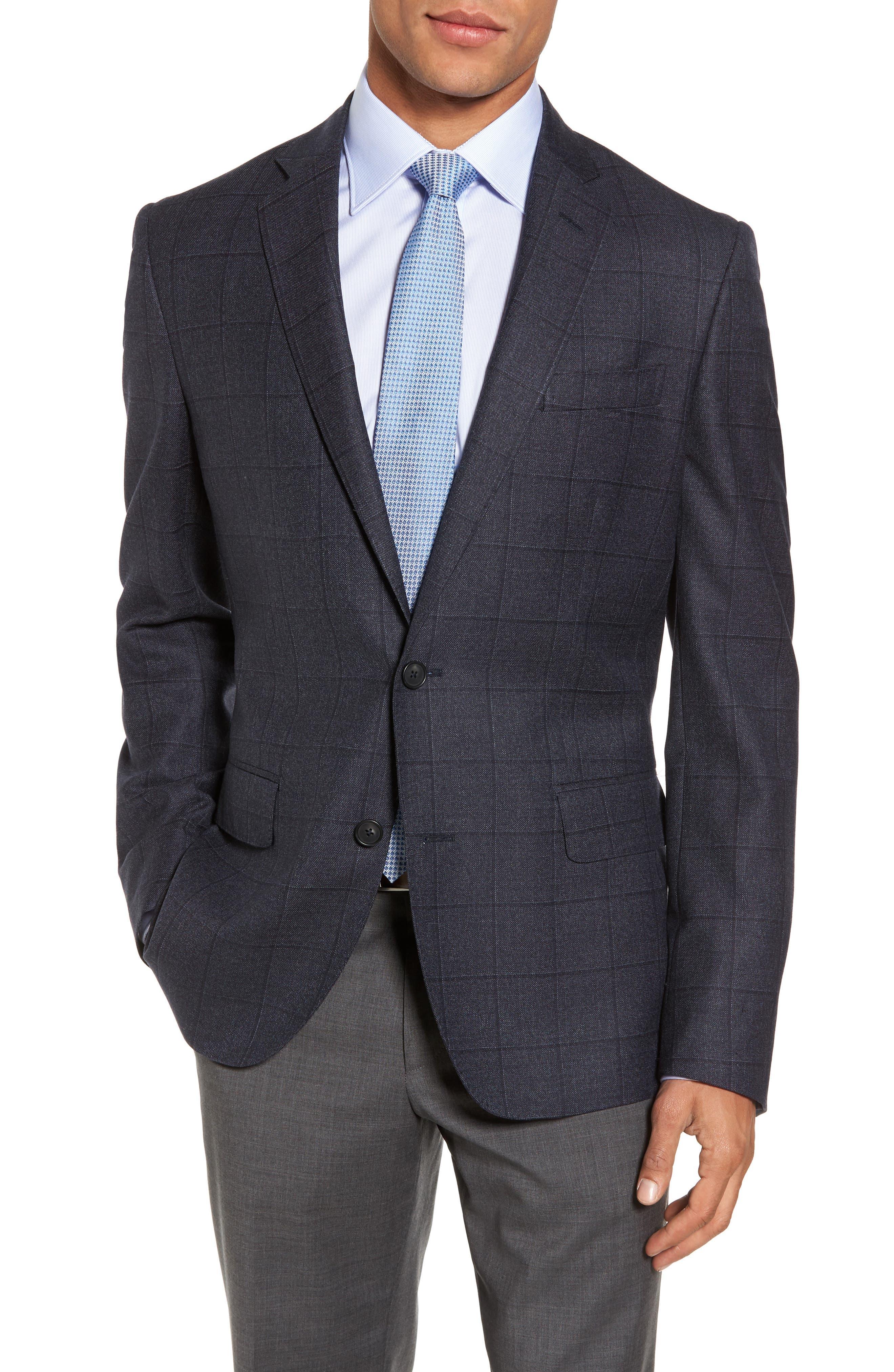 Trim Fit Windowpane Wool Sport Coat,                         Main,                         color,